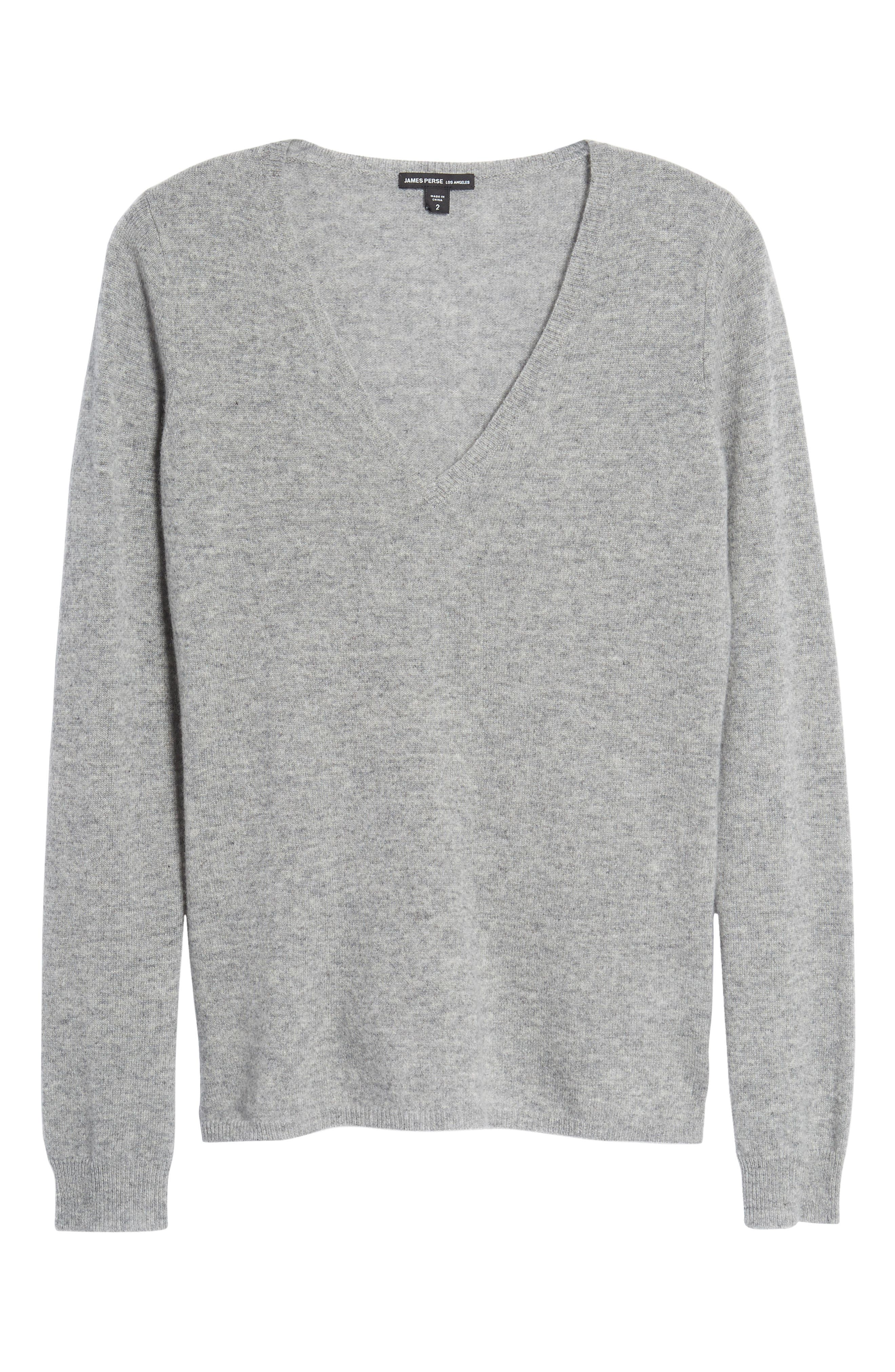 Cashmere V-Neck Sweater,                             Alternate thumbnail 6, color,                             086