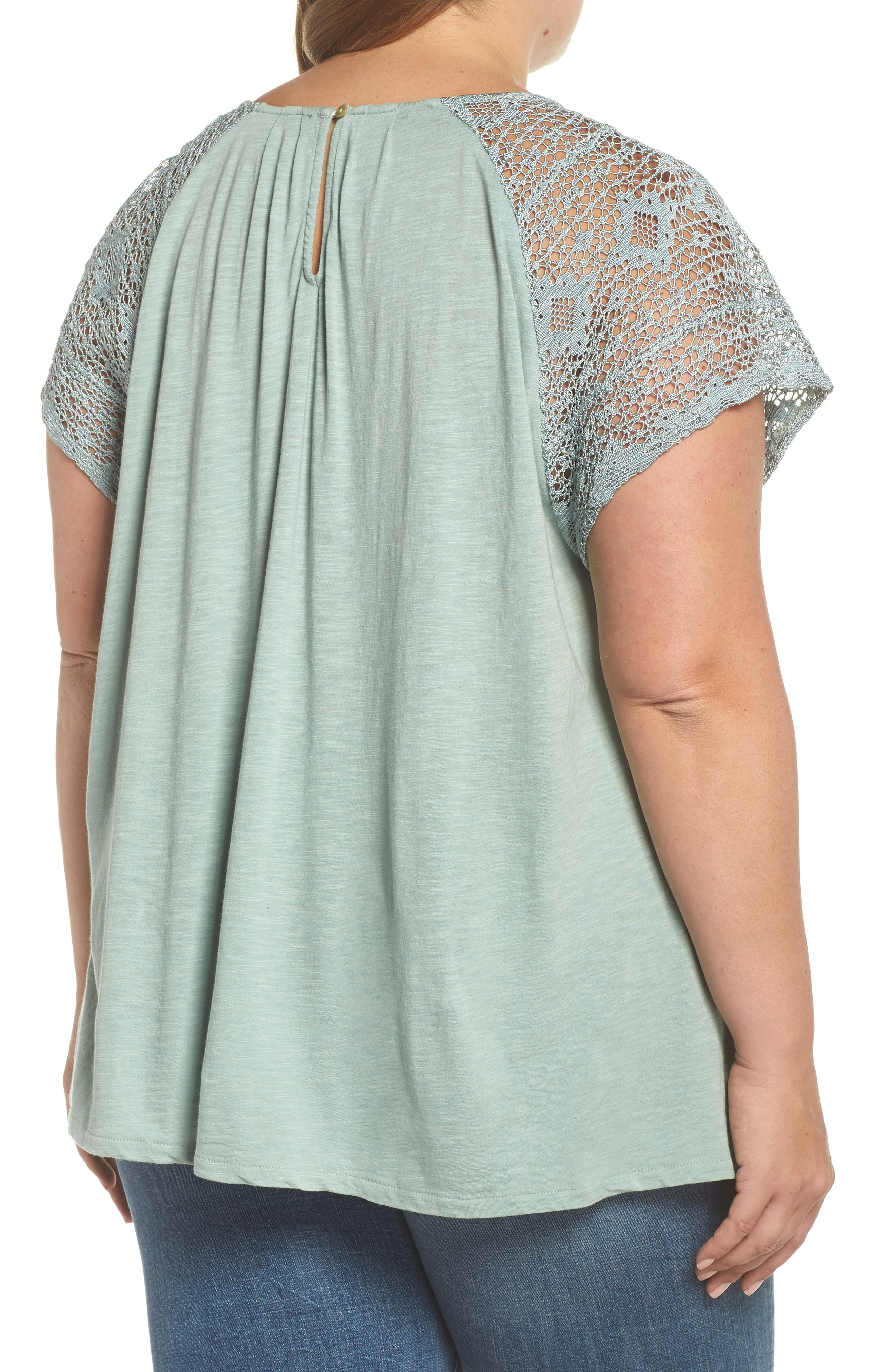 Lace Sleeve Top,                             Alternate thumbnail 2, color,                             ICEBERG GREEN