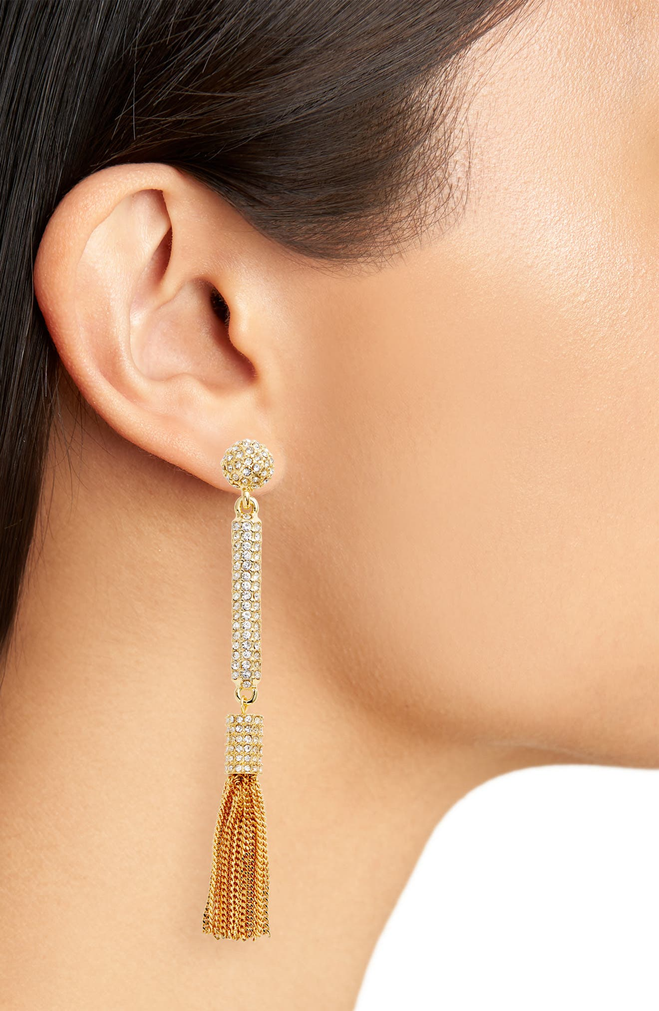 Pavé Tassel Earrings,                             Alternate thumbnail 4, color,