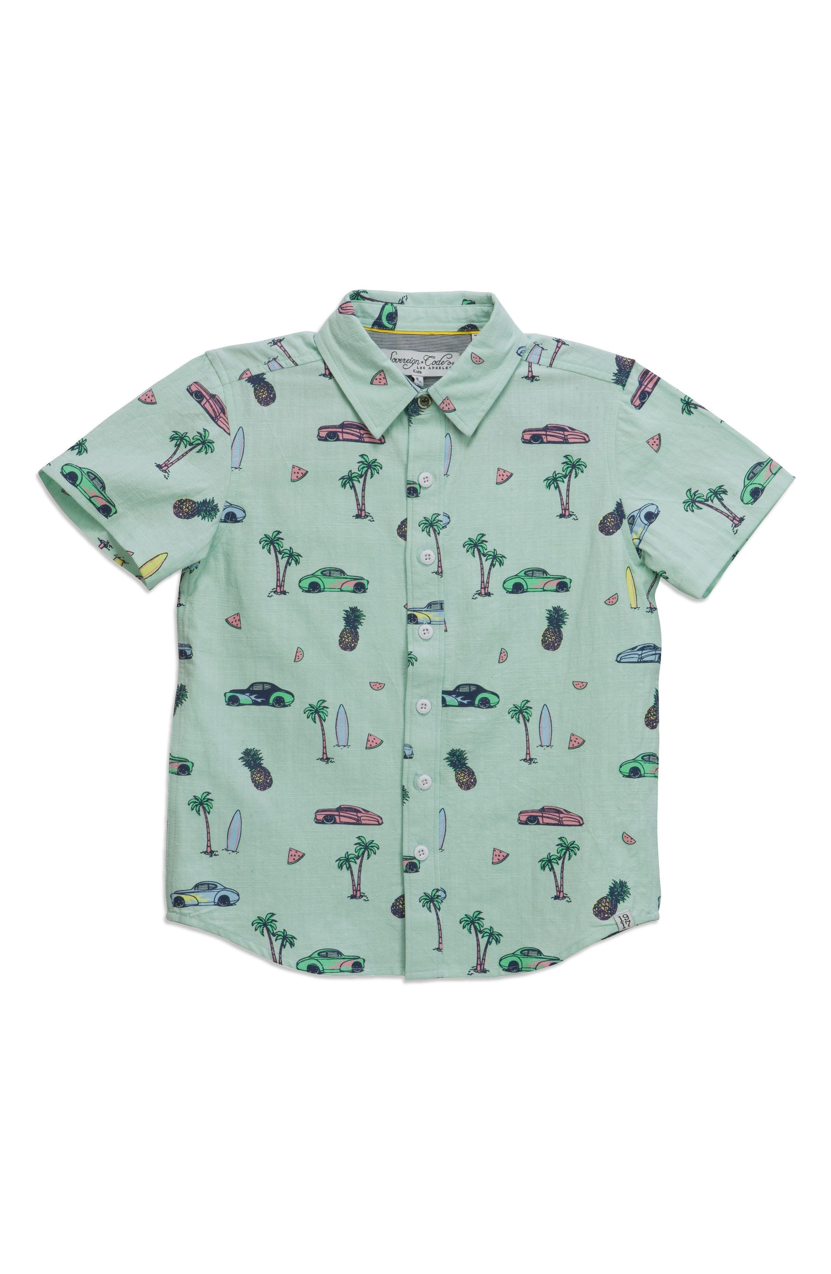 Deluxe Print Woven Shirt,                         Main,                         color, 400