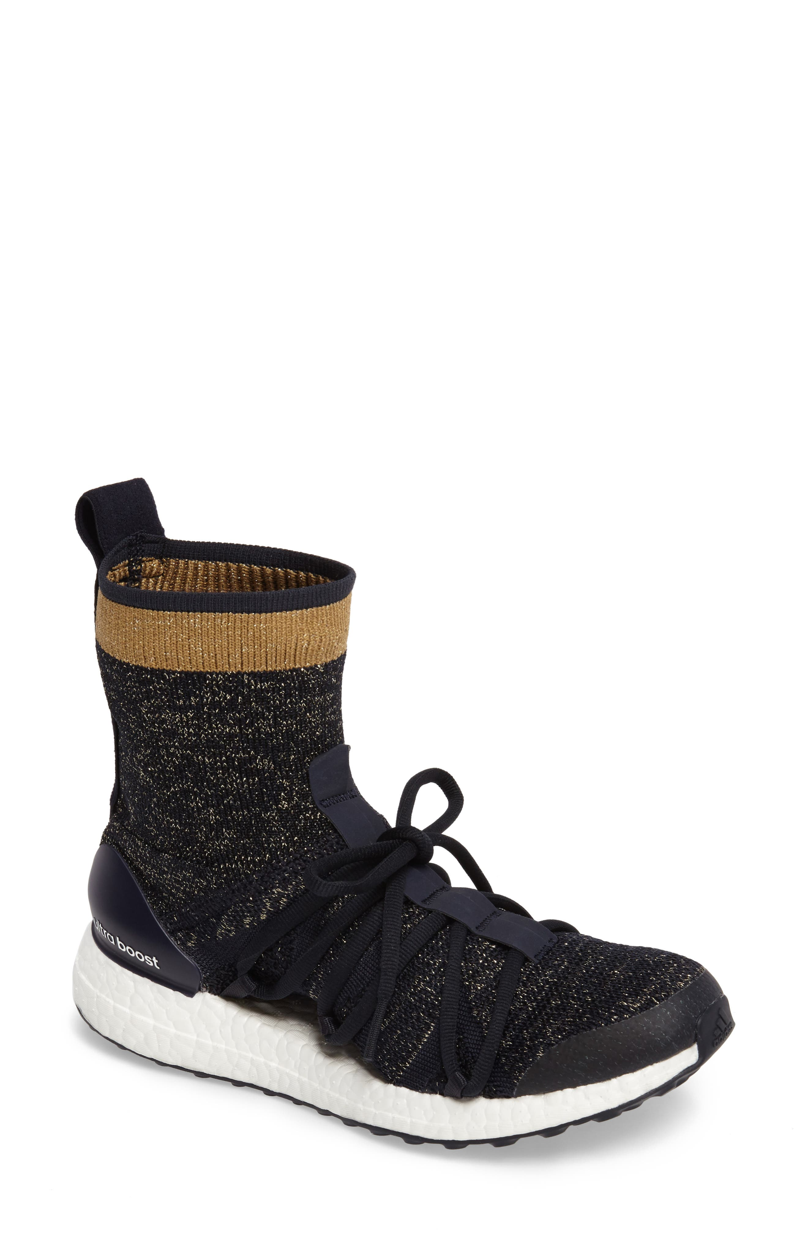by Stella McCartney UltraBoost X Primeknit Mid Sneaker,                         Main,                         color, 400