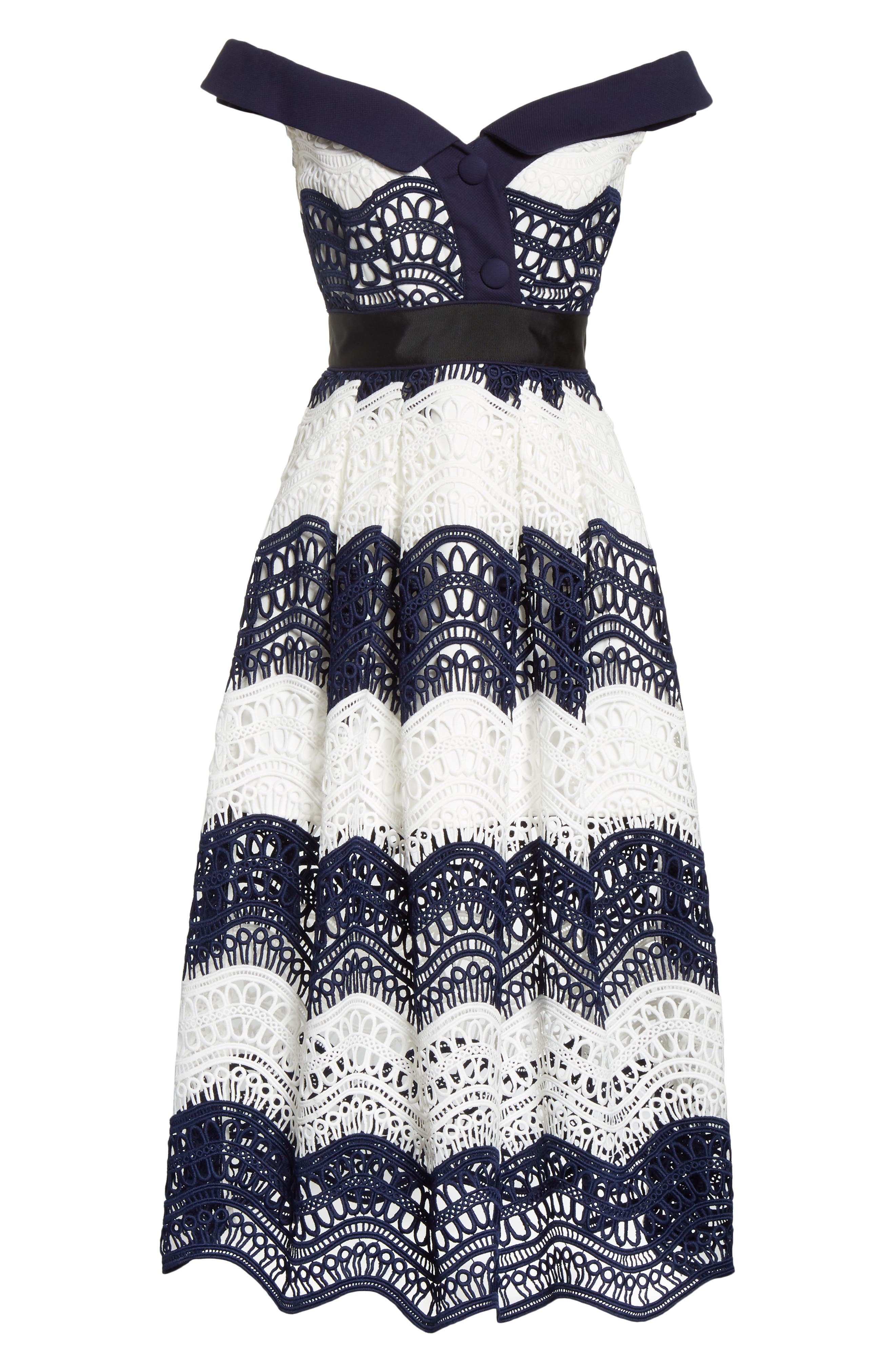 Wave Lace Off the Shoulder Midi Dress,                             Alternate thumbnail 6, color,                             100