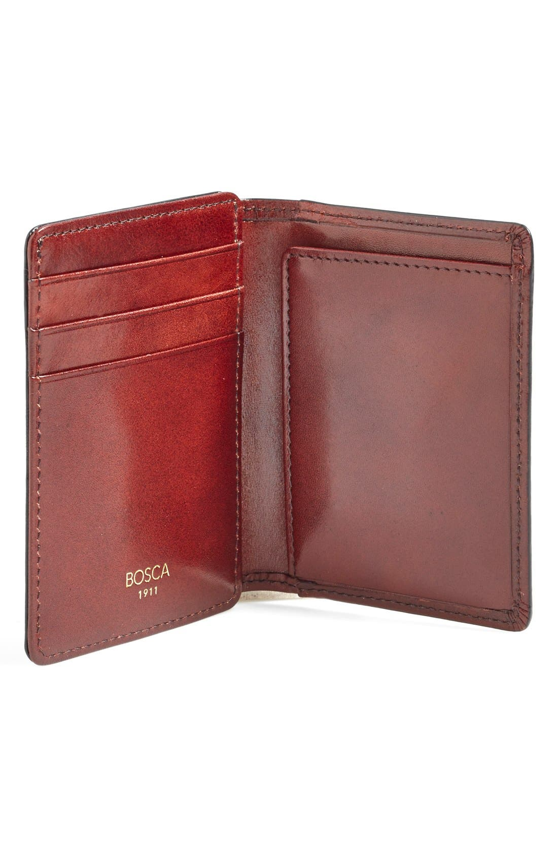 'Old Leather' Front Pocket ID Wallet,                             Alternate thumbnail 3, color,                             DARK BROWN
