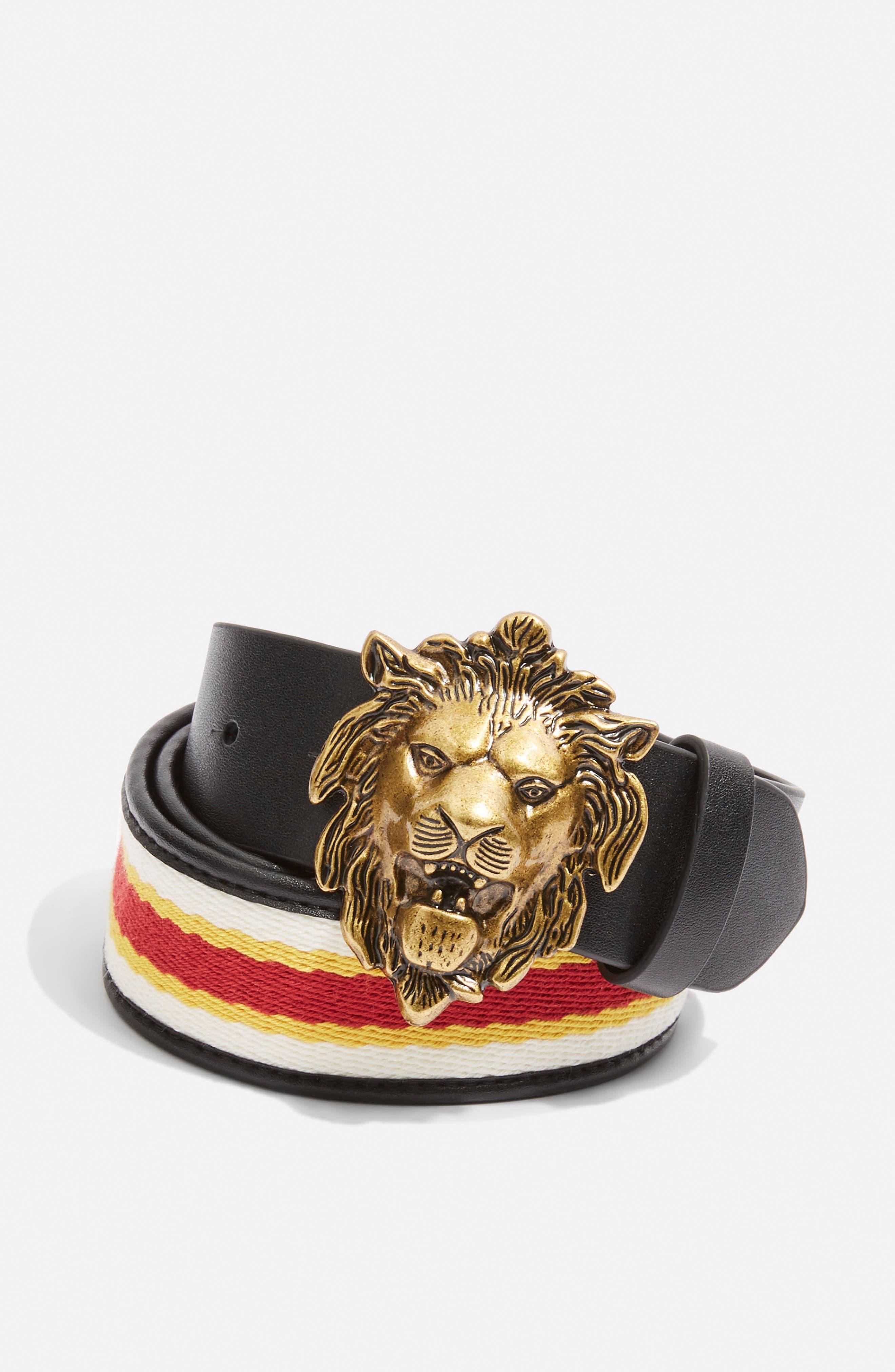 Lion Head Belt,                             Alternate thumbnail 3, color,                             001