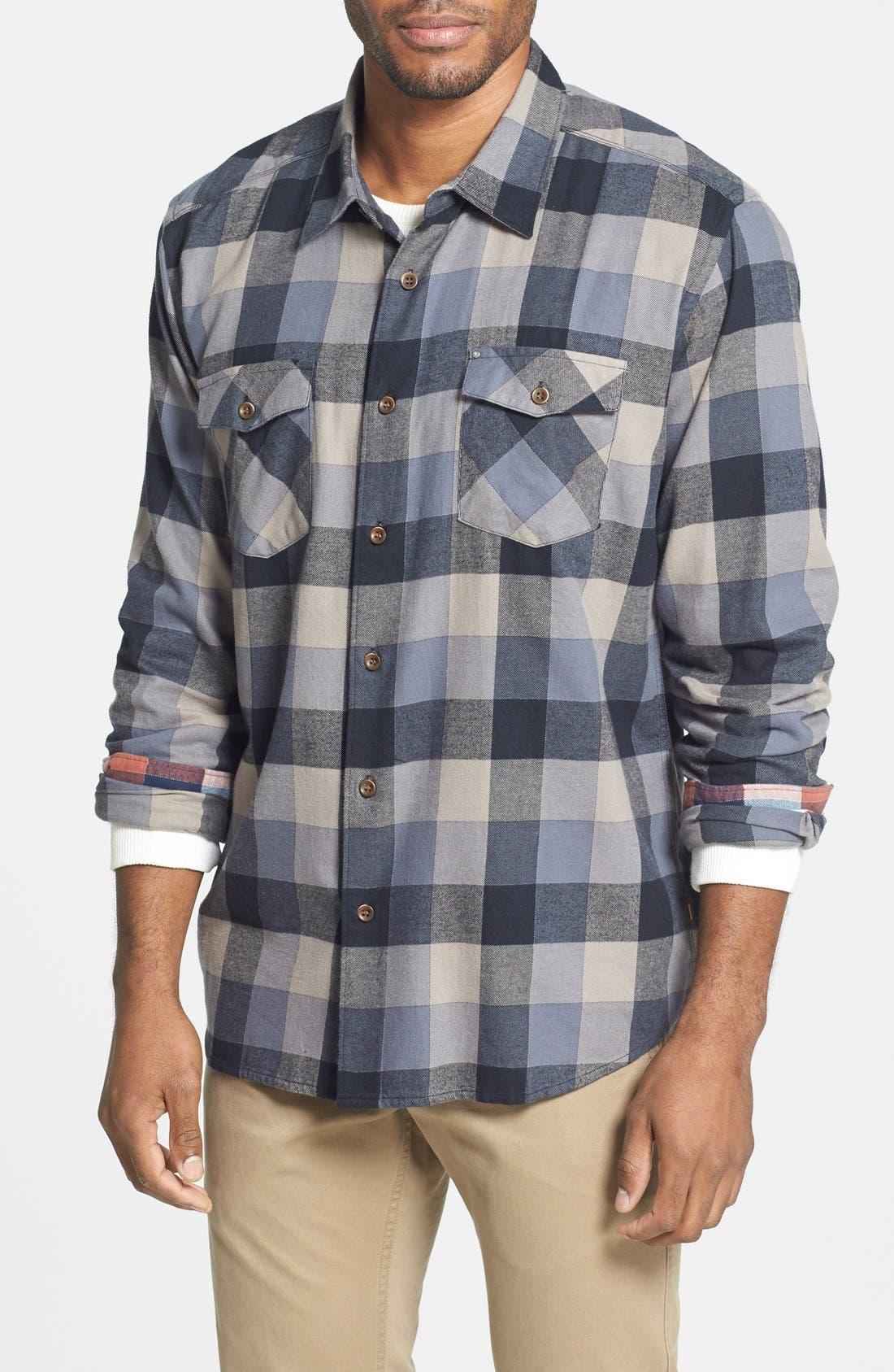 Quiksilver 'Aikens Lake' Flannel Shirt, Main, color, 002
