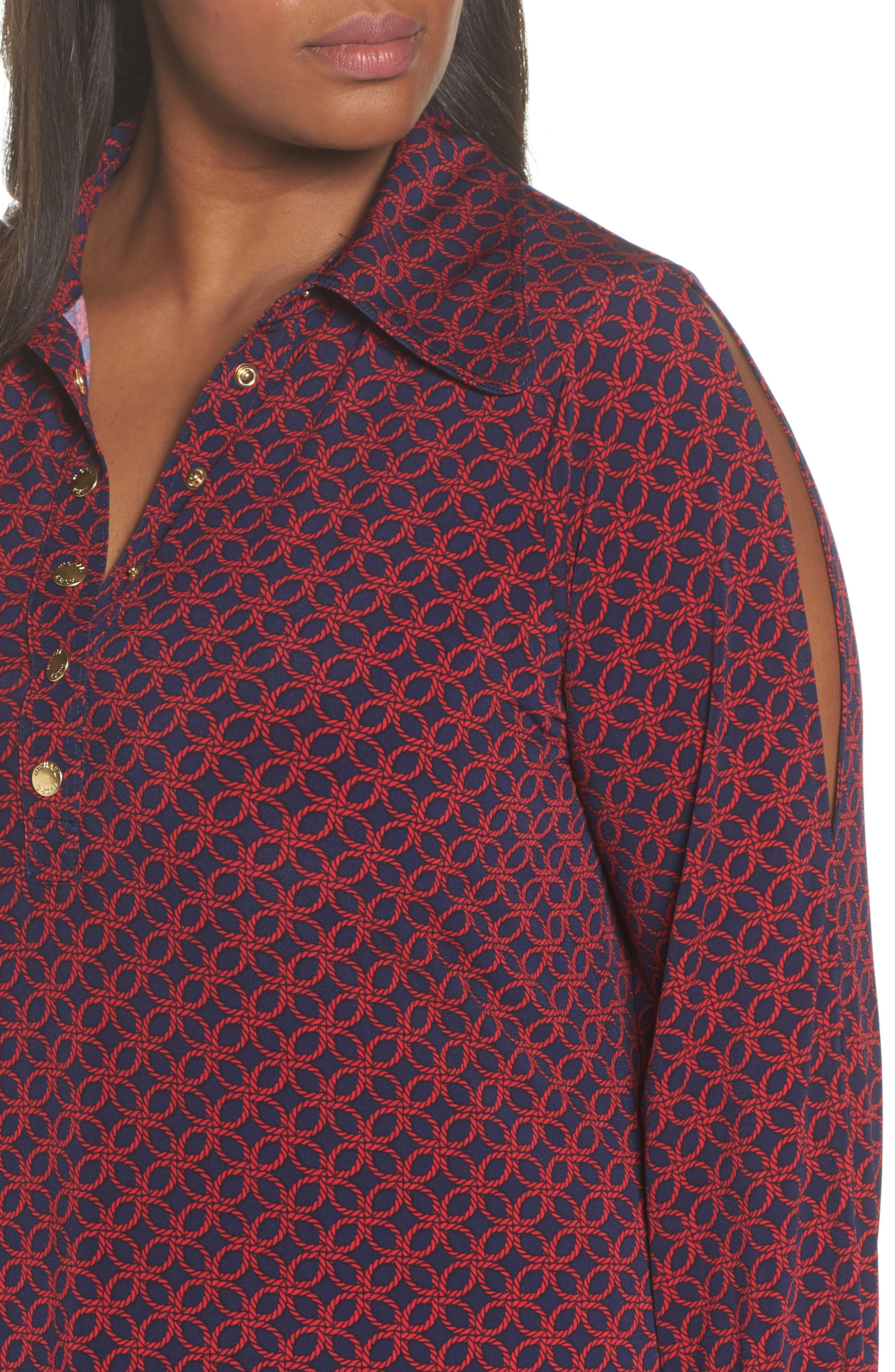 Geo Rope Print Shirtdress,                             Alternate thumbnail 4, color,                             407