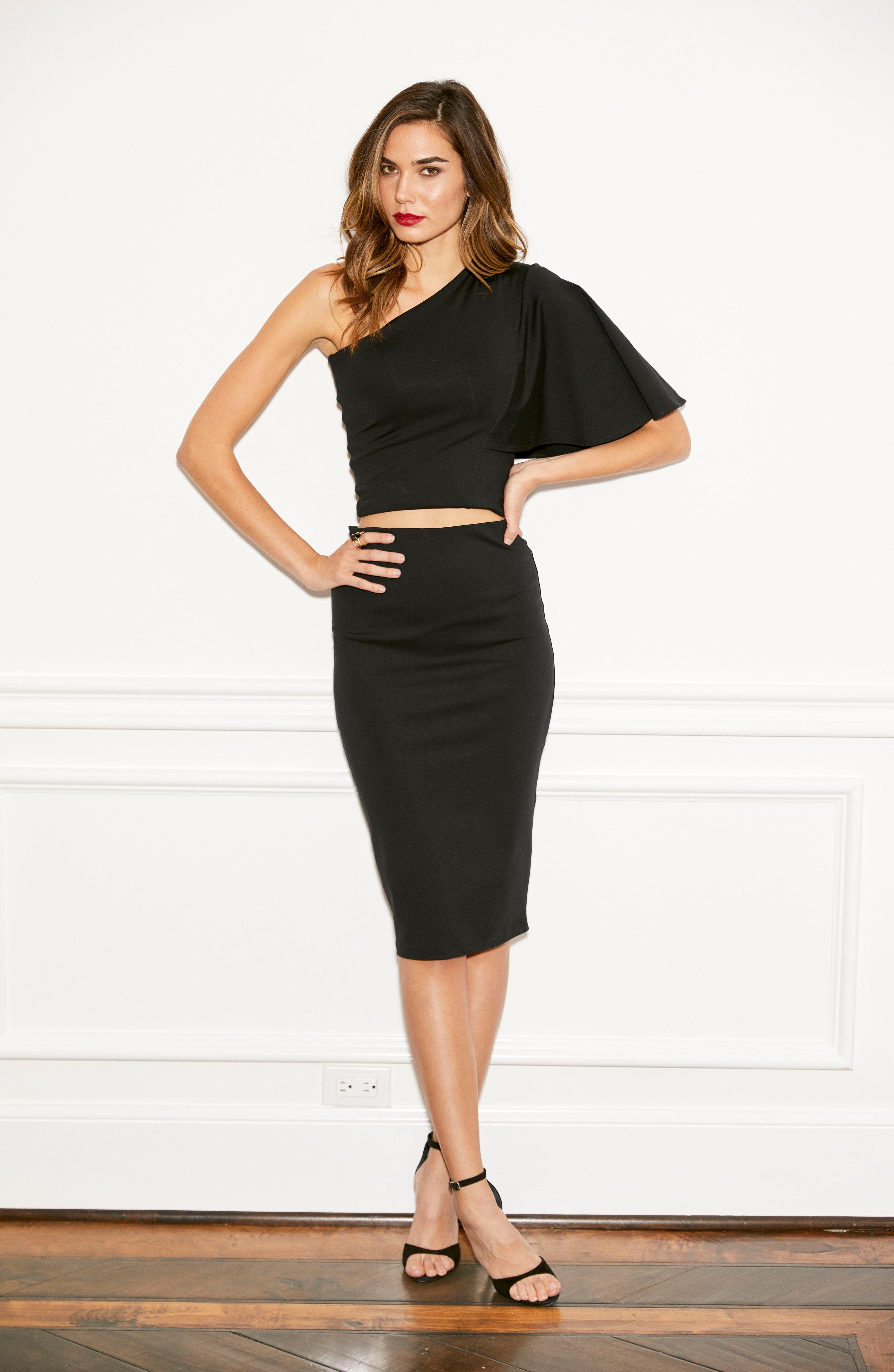 Tube High Rise Pencil Skirt,                             Alternate thumbnail 8, color,                             BLACK