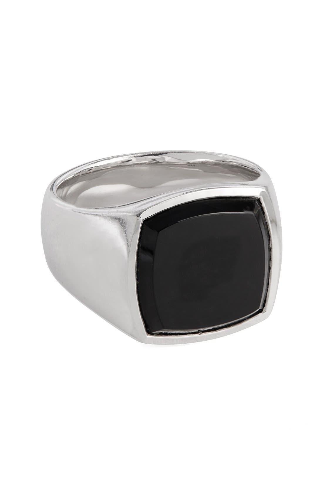 Black Onyx Cushion Signet Ring,                             Main thumbnail 1, color,                             041