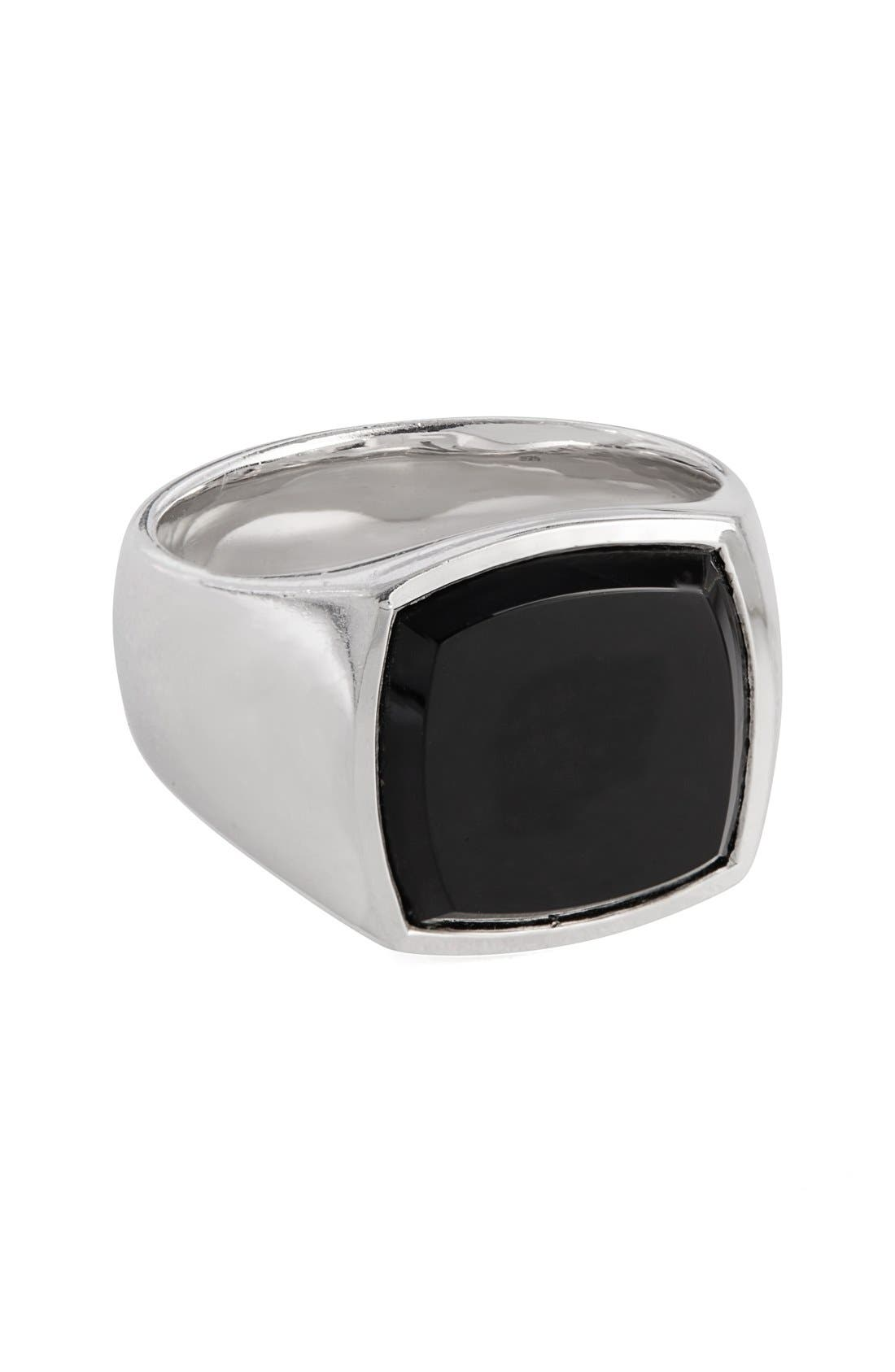Black Onyx Cushion Signet Ring,                         Main,                         color, 041