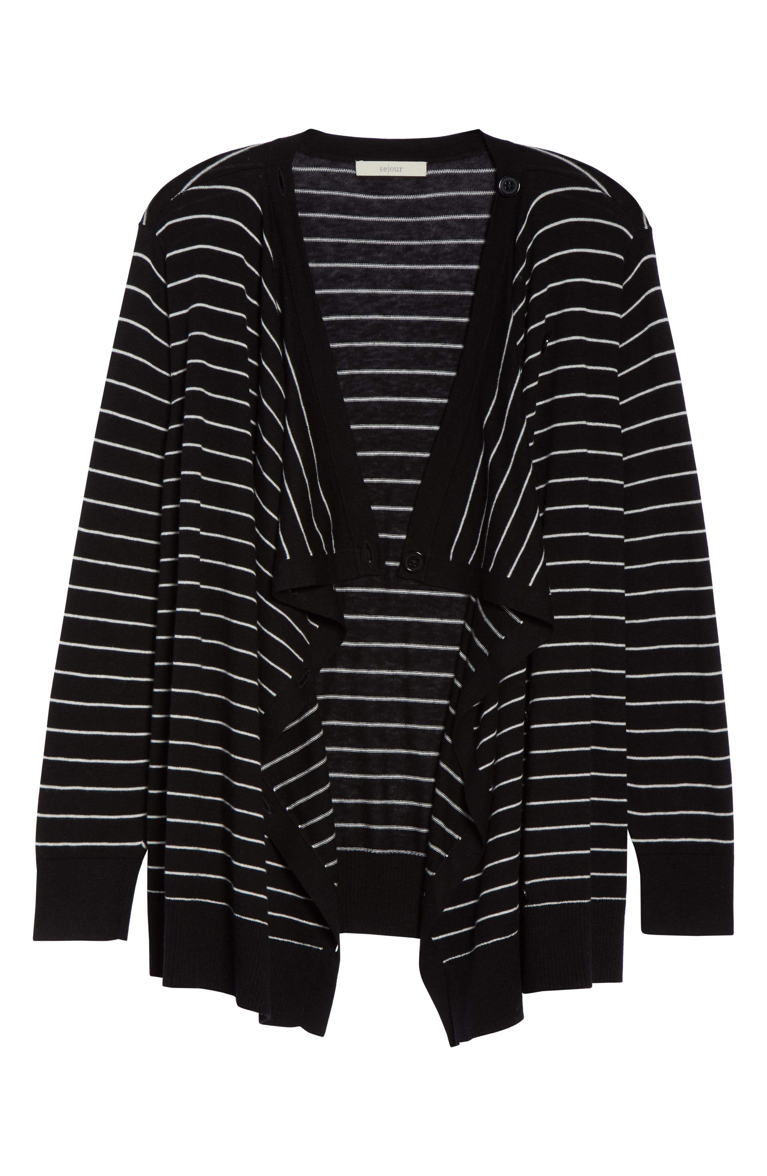 Button-Up Waterfall Cardigan,                             Alternate thumbnail 6, color,                             BLACK- IVORY DELIA STRIPE