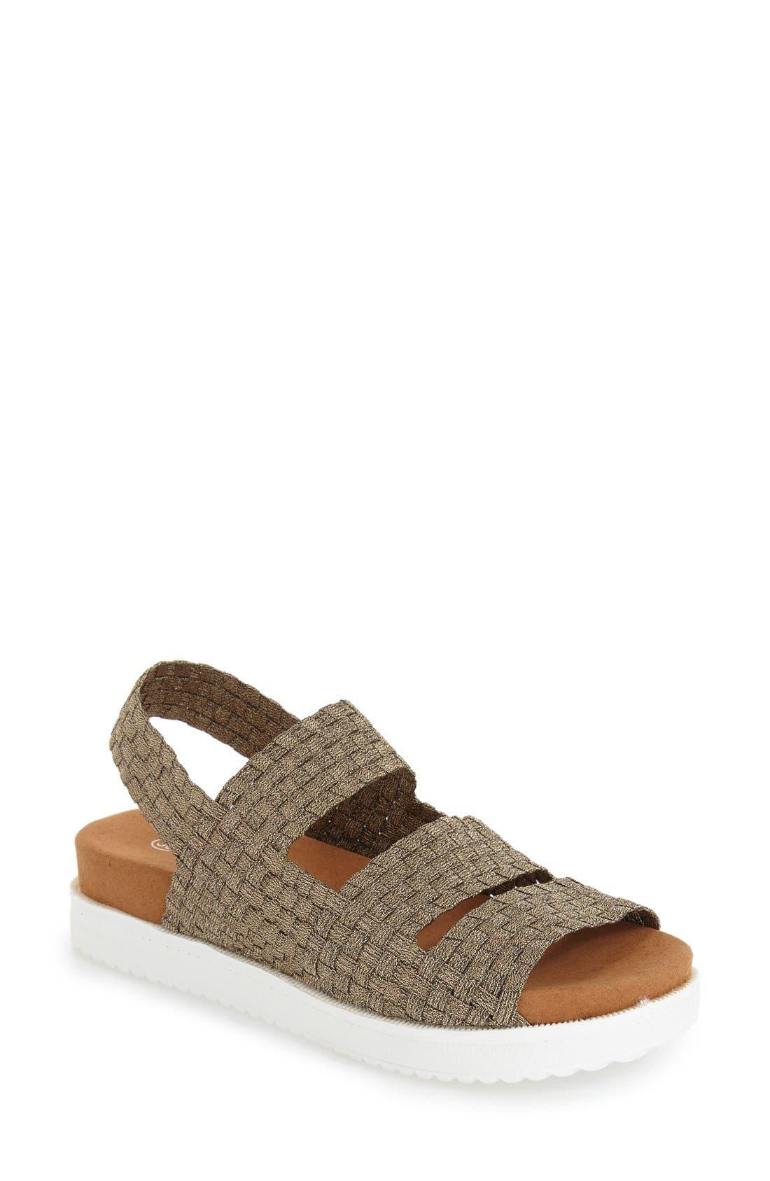 'Crisp' Woven Platform Sandal,                             Main thumbnail 1, color,                             BRONZE FABRIC