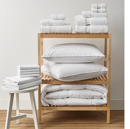 Nordstrom brand pillows, bedding and towels.