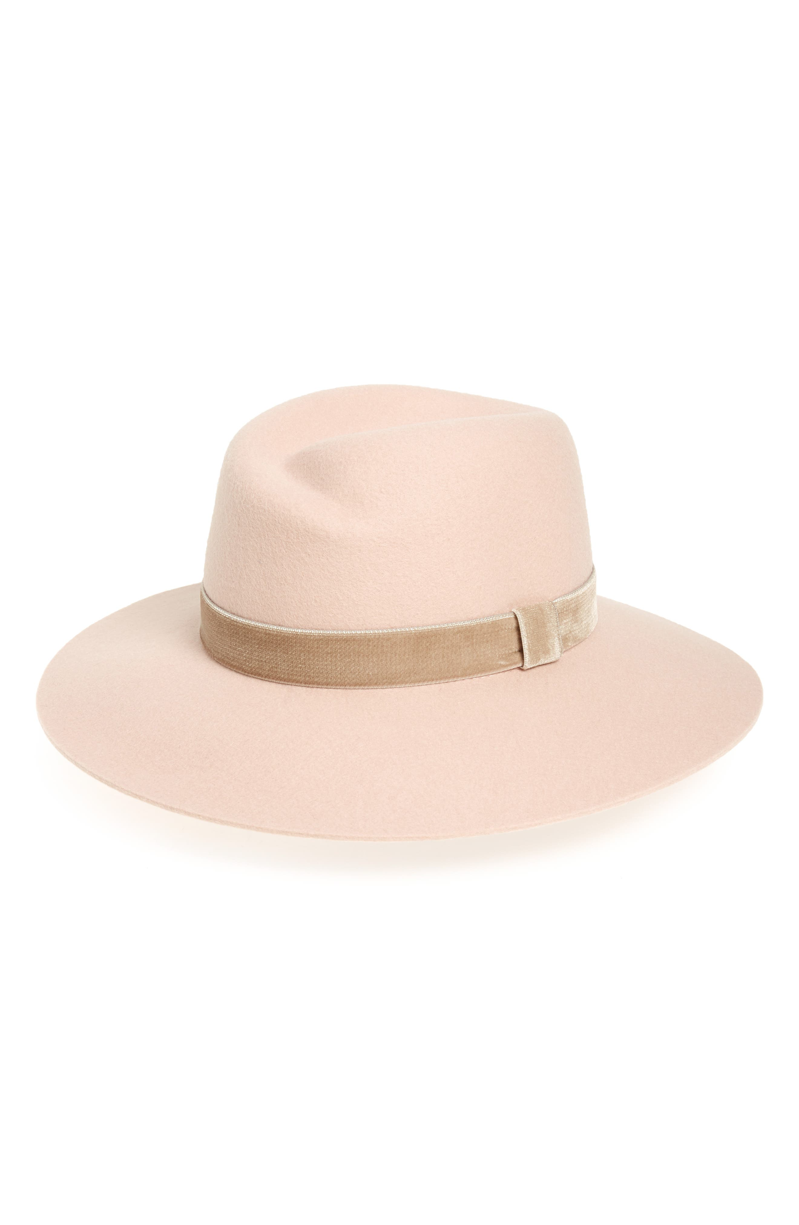 Zoe Wool Fedora,                         Main,                         color, LIGHT PINK