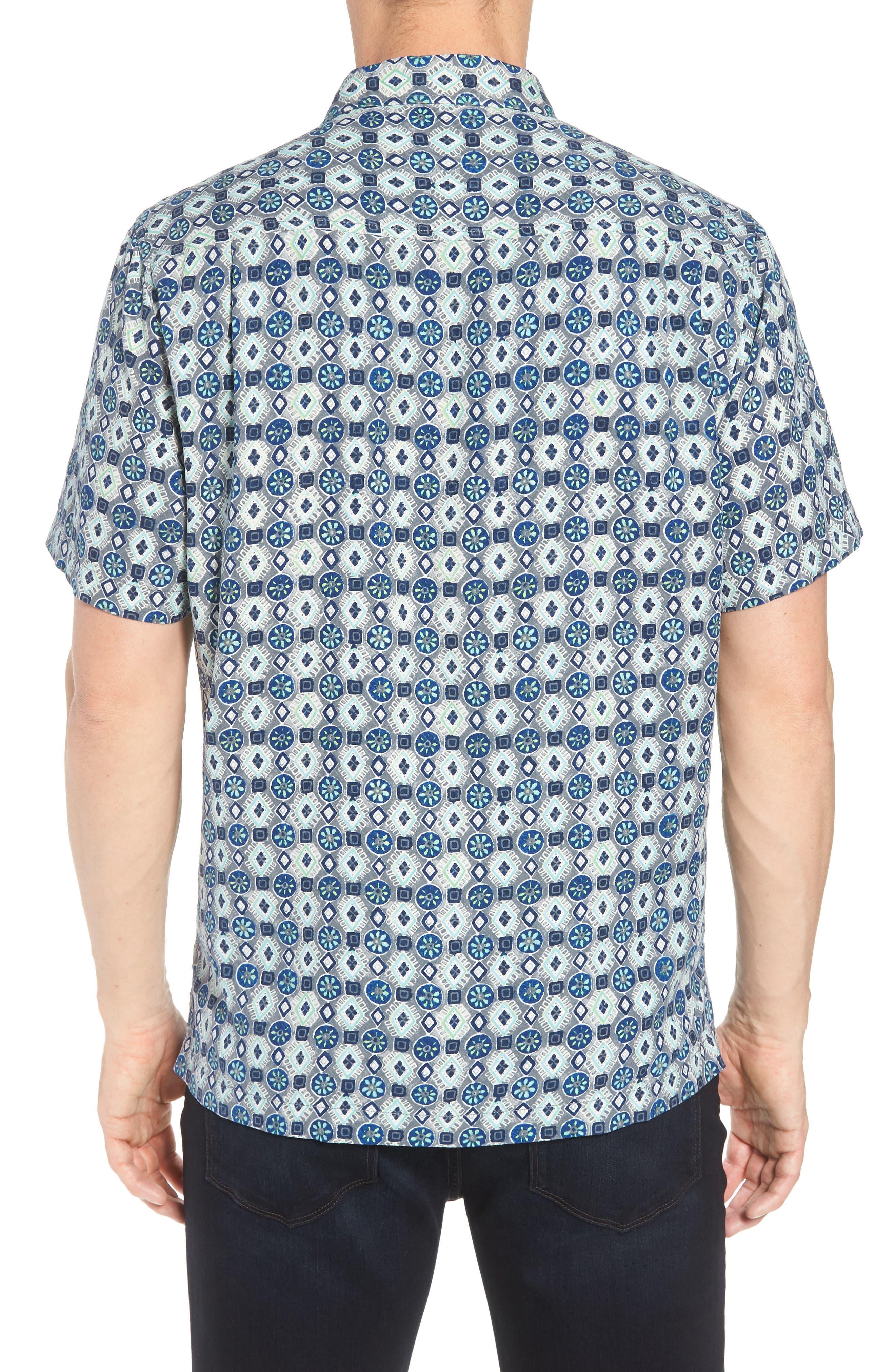 Tulum Tiles Silk Camp Shirt,                             Alternate thumbnail 2, color,                             BLACK
