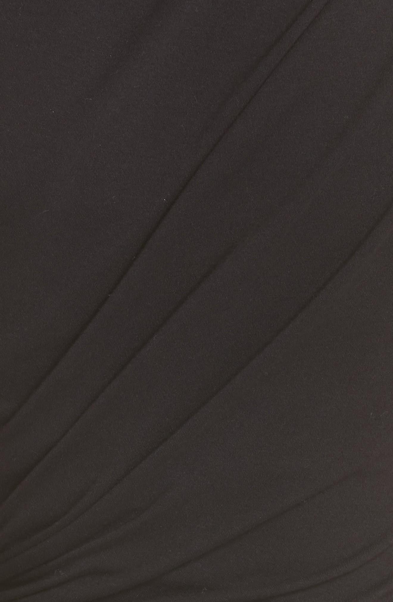 Keyhole Twist Compact Jersey Dress,                             Alternate thumbnail 5, color,                             BLACK