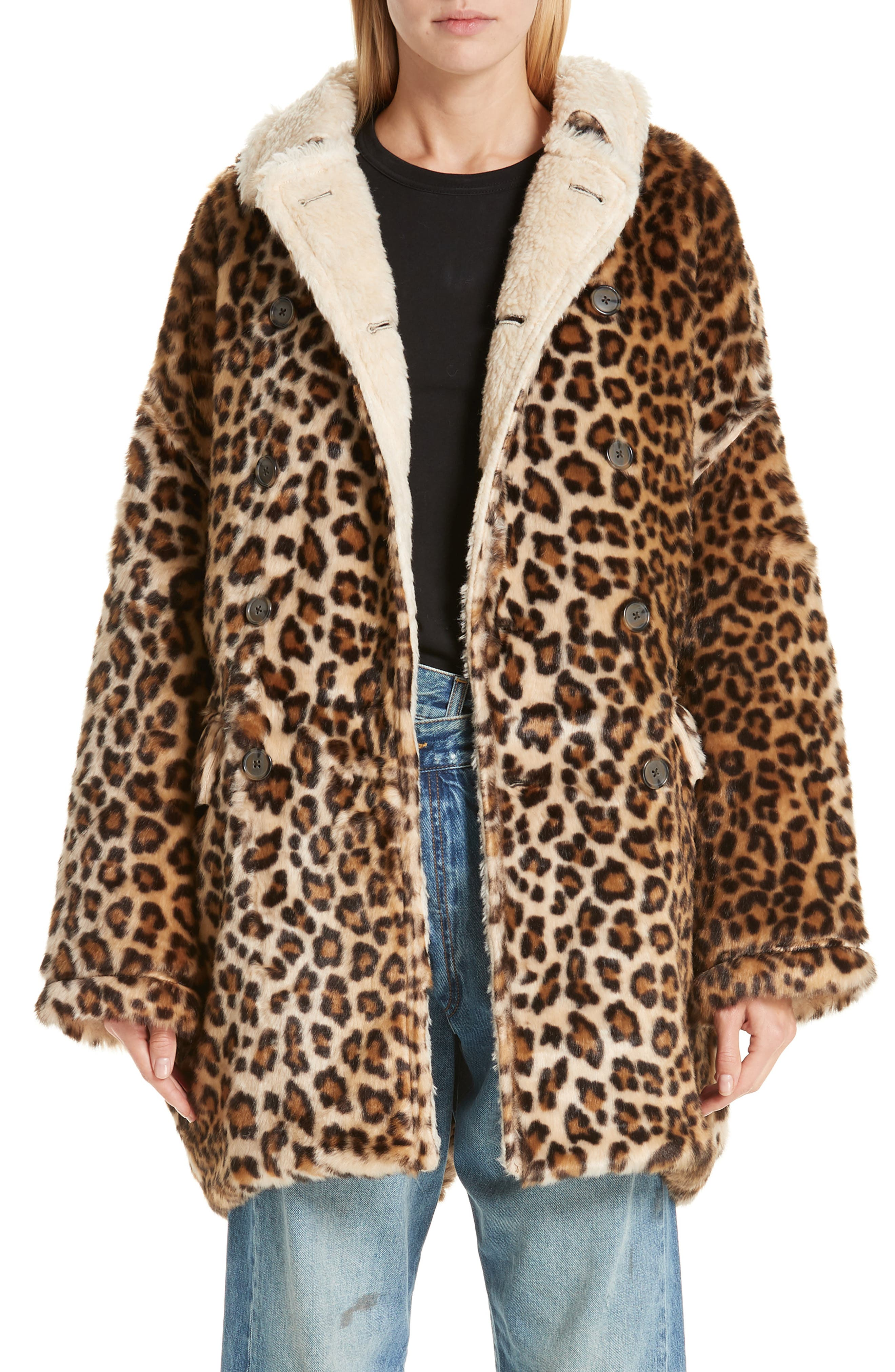 R13 Oversize Faux Leopard Hunting Coat, Main, color, 242