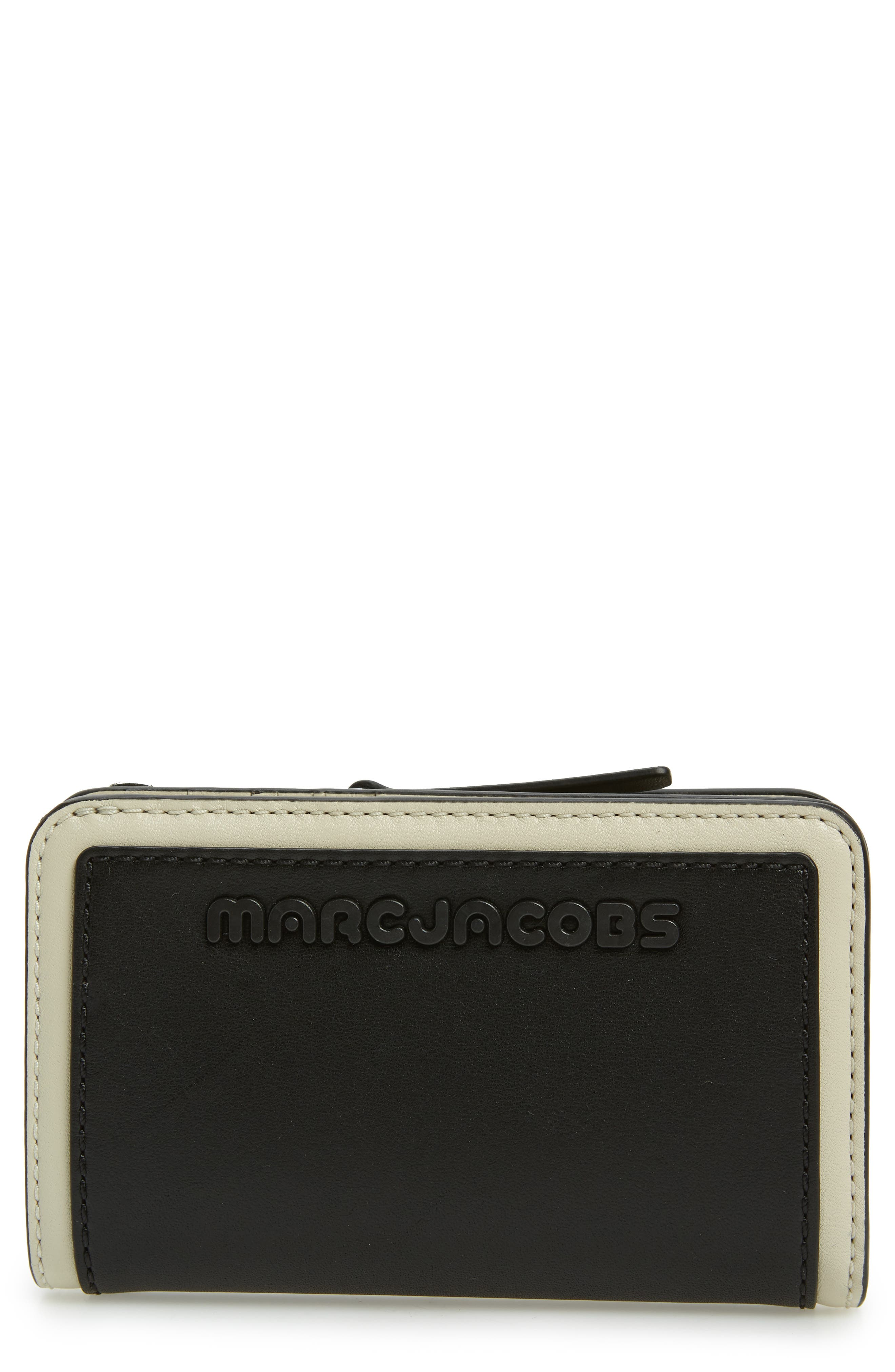 Sport Compact Leather Wallet,                             Main thumbnail 1, color,                             BLACK/ WHITE
