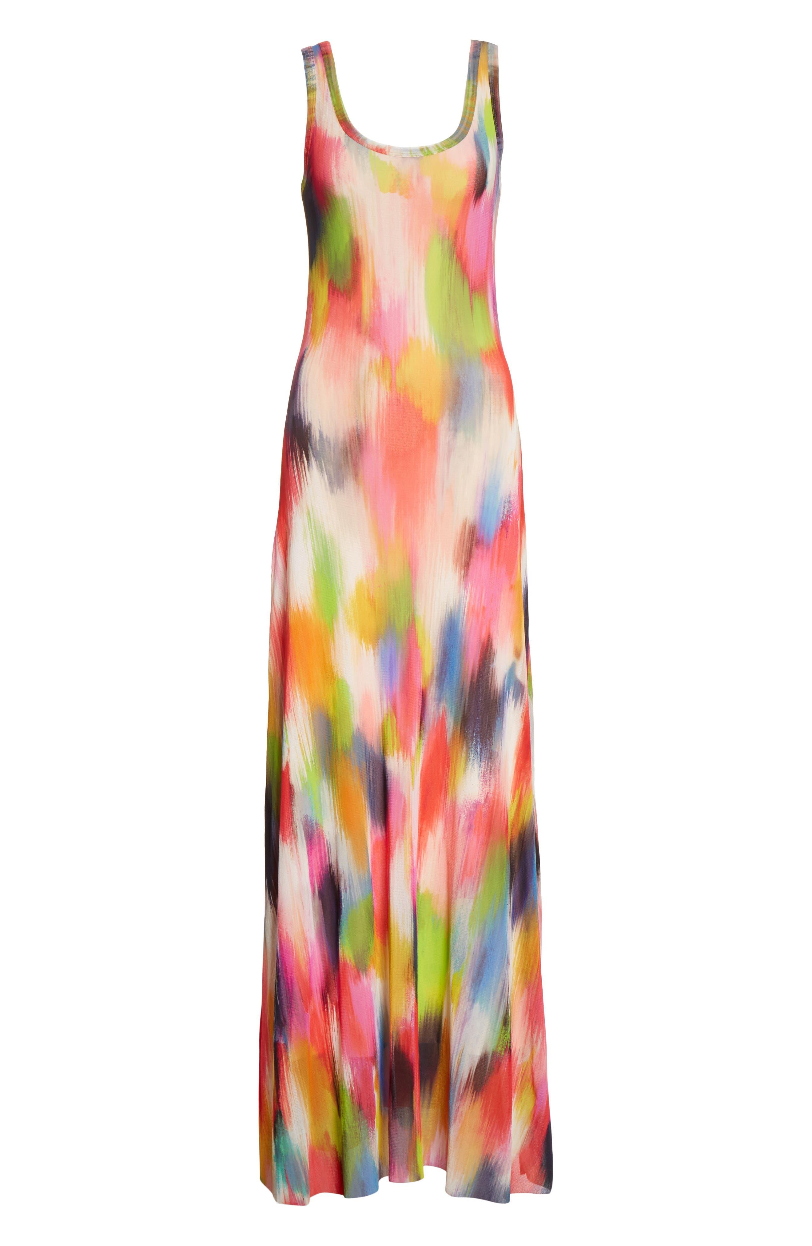 Brushstroke Print Tulle Maxi Dress,                             Alternate thumbnail 6, color,