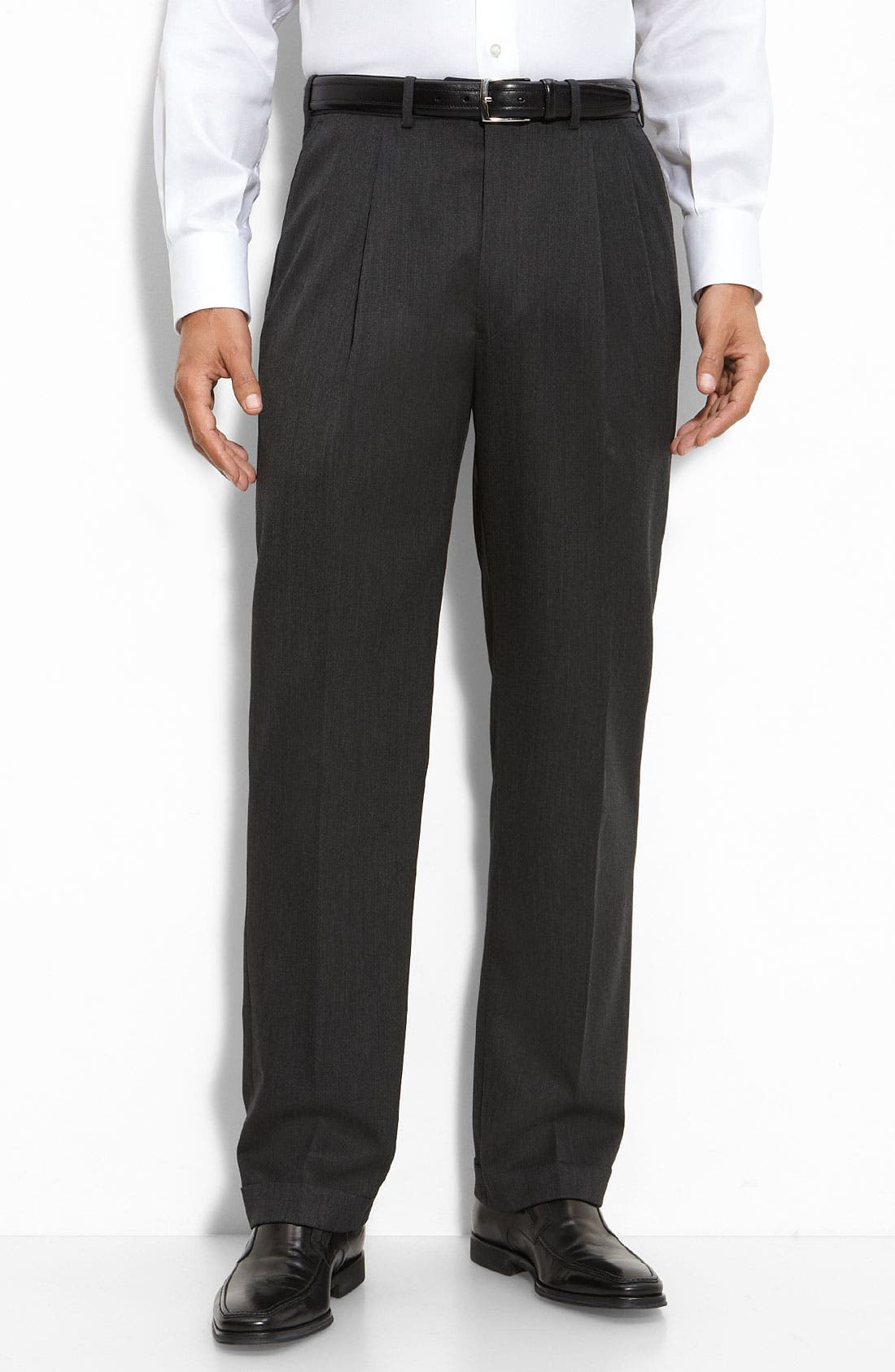 Pleated Super 100s Worsted Wool Trousers,                             Main thumbnail 2, color,