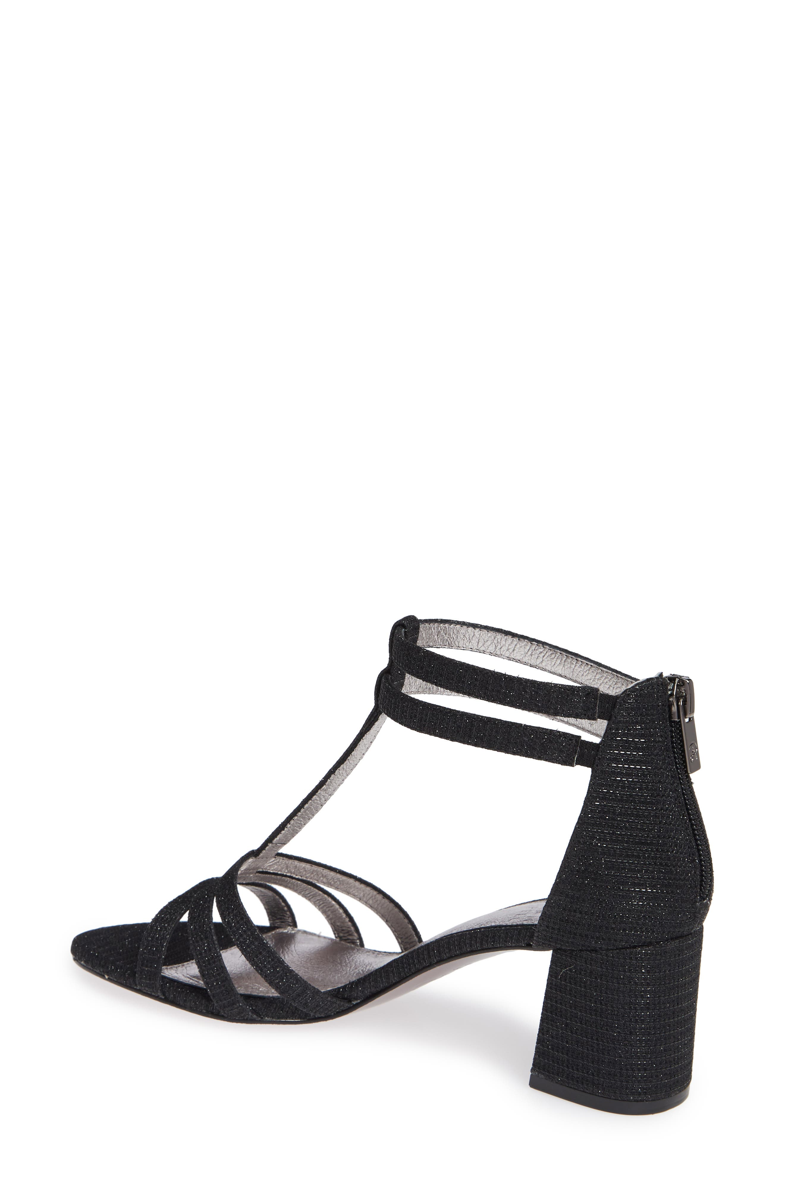 Anella Block Heel Sandal,                             Alternate thumbnail 2, color,                             BLACK GLITTER