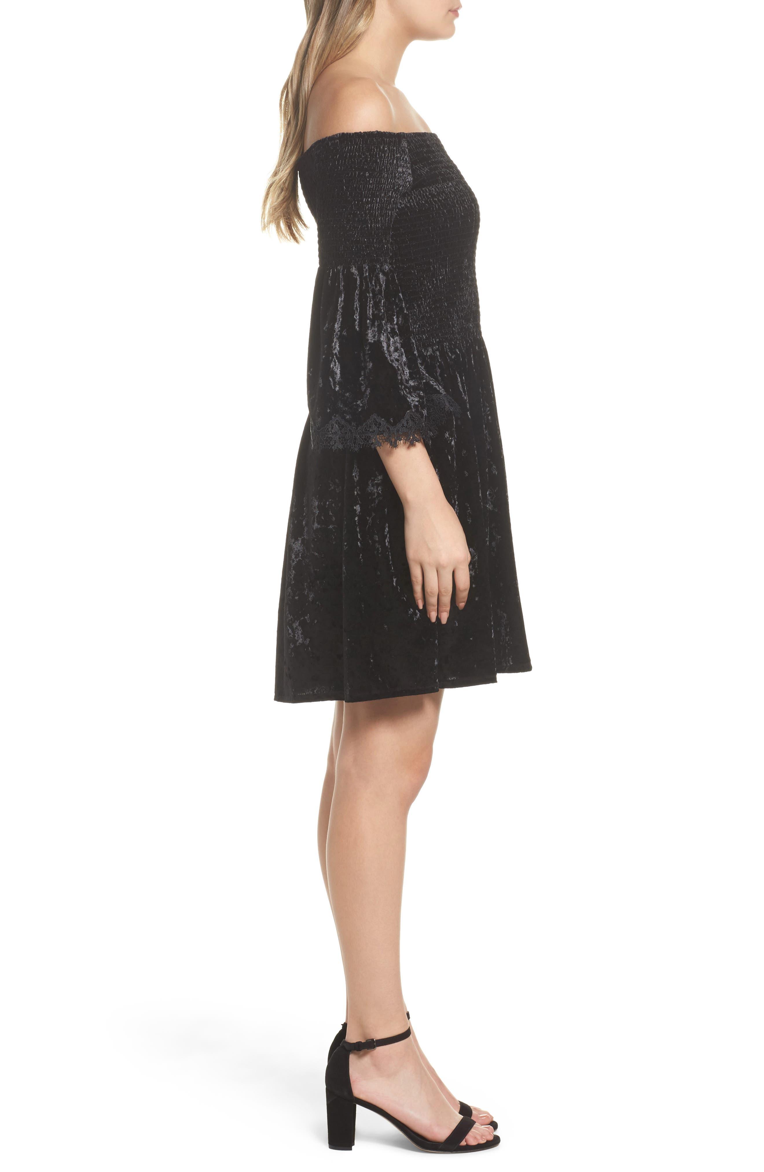 Donella Off the Shoulder Velvet Dress,                             Alternate thumbnail 3, color,