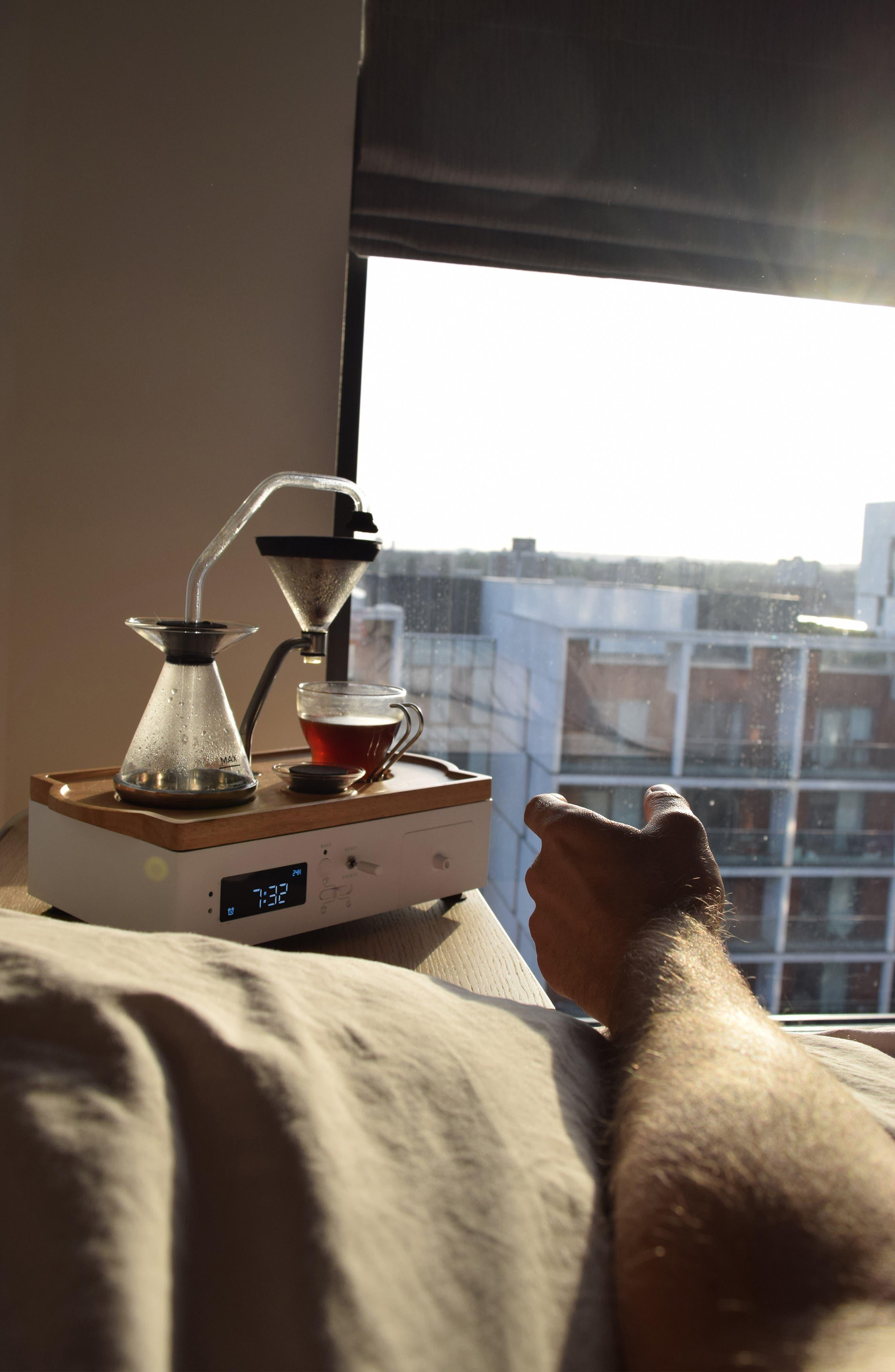 Soda Says x Barisieur Coffee & Tea Alarm Clock,                             Alternate thumbnail 9, color,                             WHITE/ RUBBERWOOD