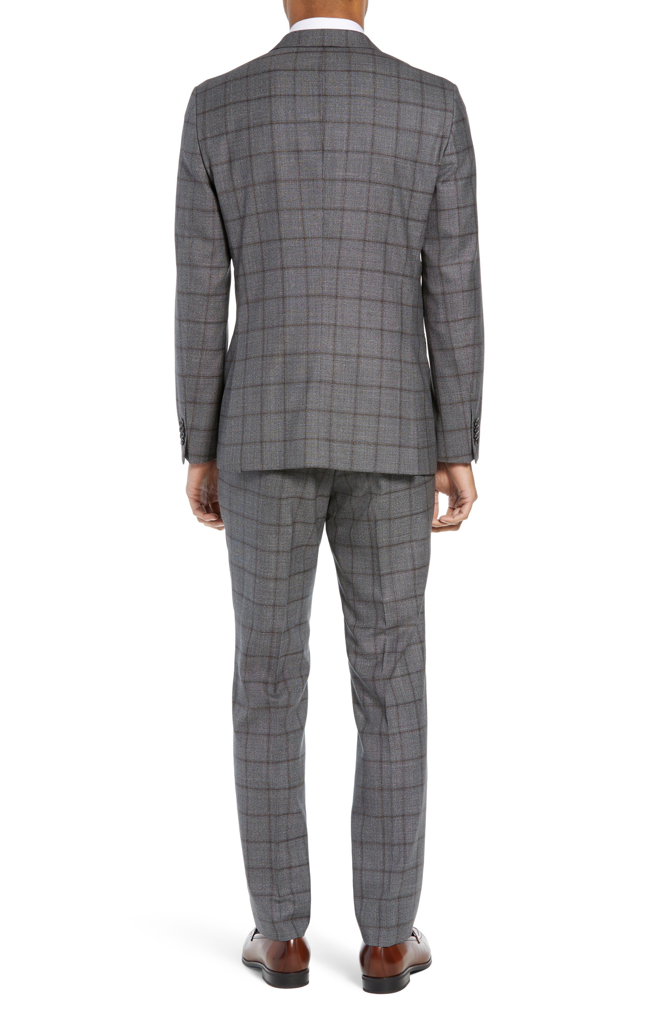Novan/Ben Trim Fit Windowpane Wool Suit,                             Alternate thumbnail 2, color,                             OPEN GREY