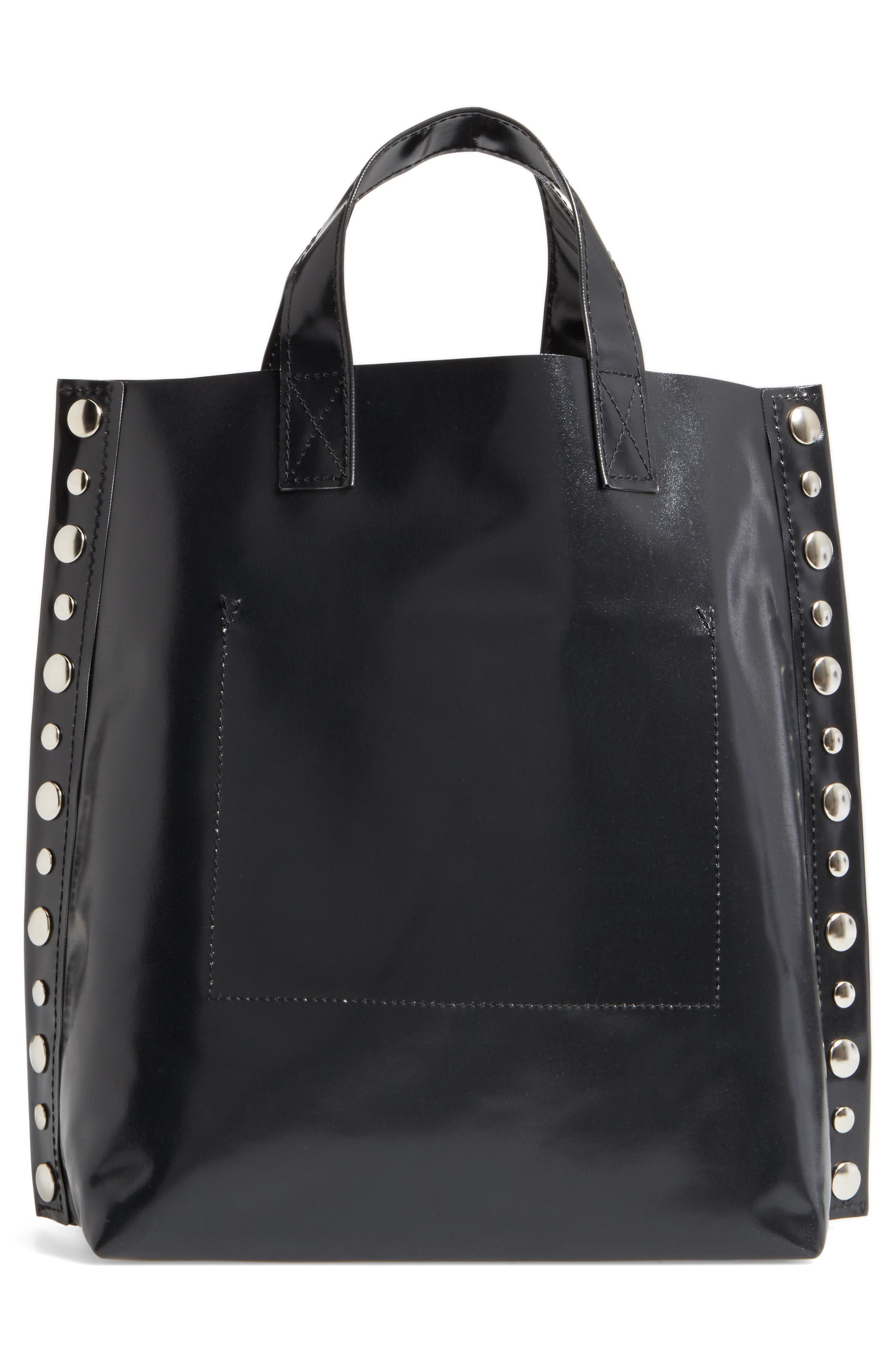 Studded Faux Leather Tote,                             Alternate thumbnail 3, color,                             001