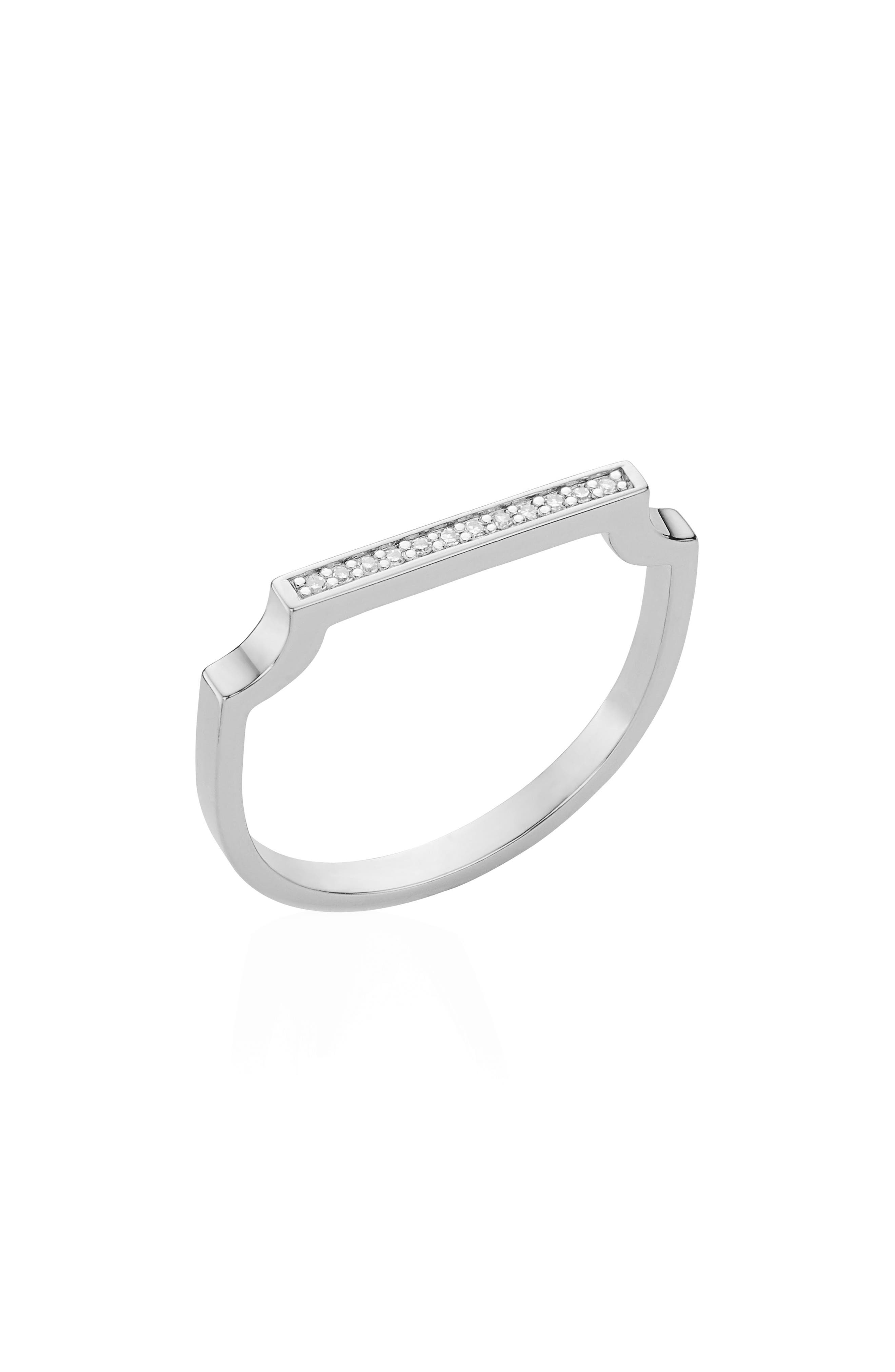 Signature Thin Diamond Ring,                         Main,                         color, SILVER/ DIAMOND