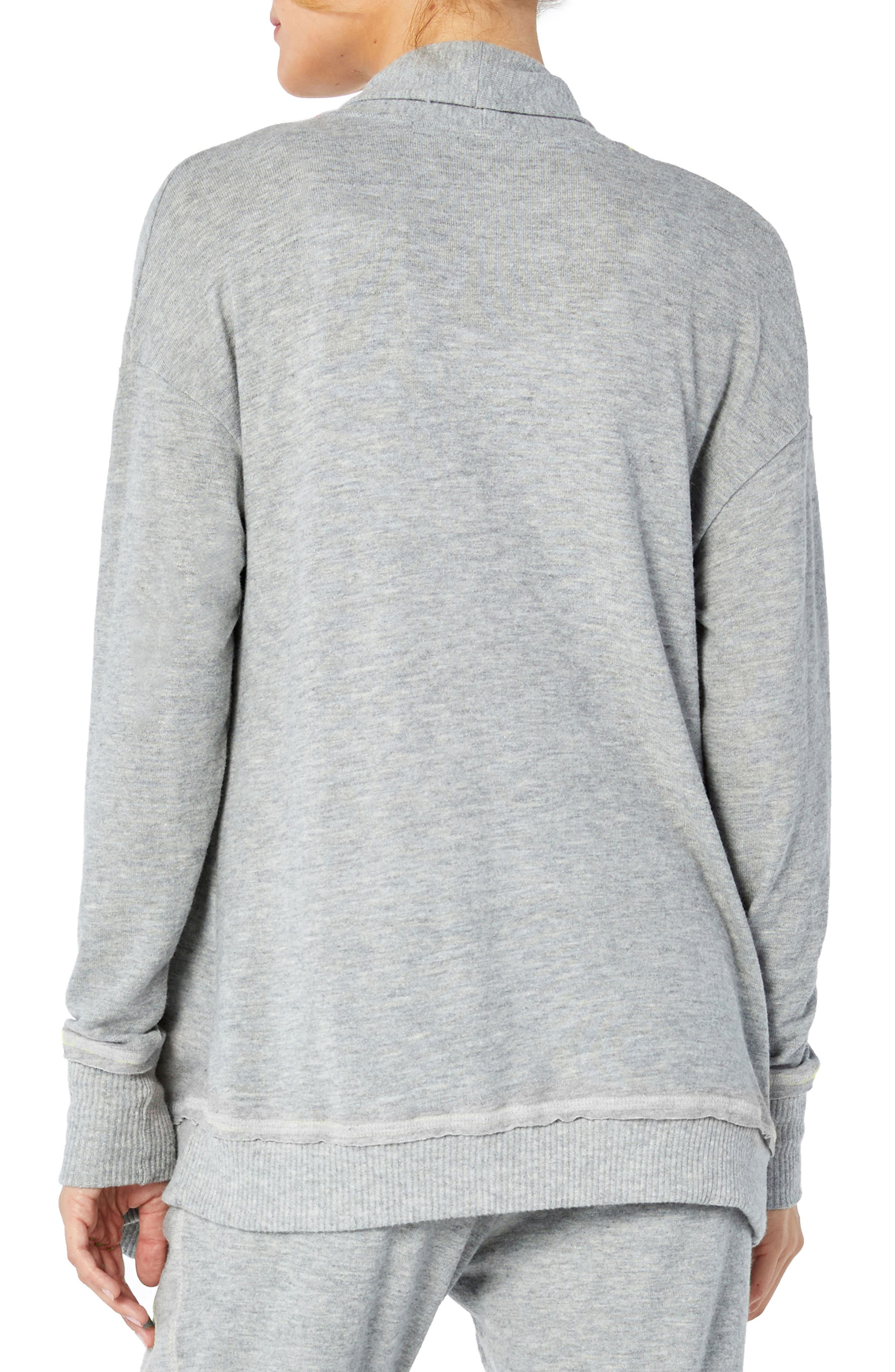 Open Front Cardigan,                             Alternate thumbnail 2, color,                             HEATHER GREY