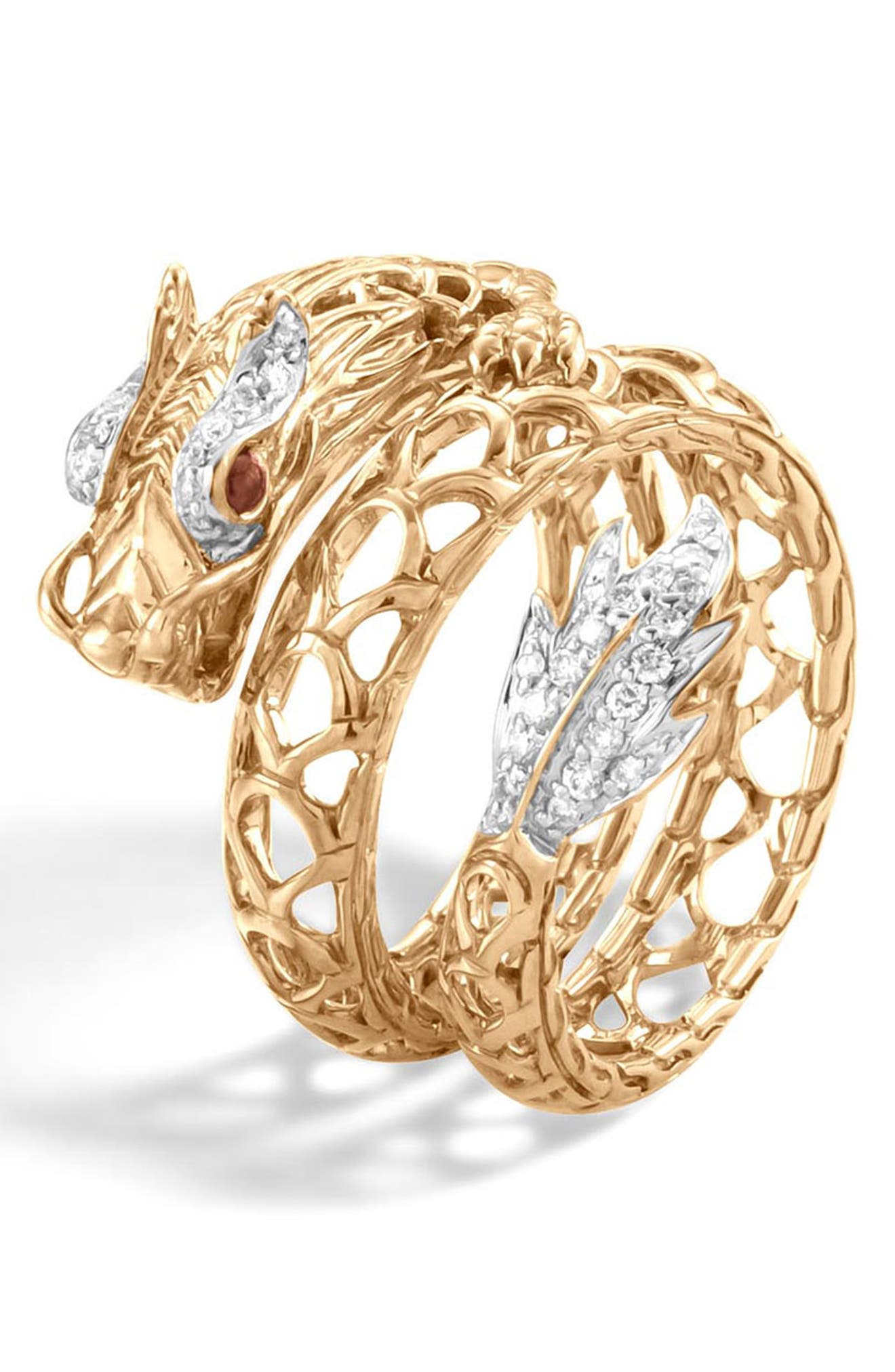 Legends Naga Dragon Coil Ring with Diamonds,                             Alternate thumbnail 4, color,