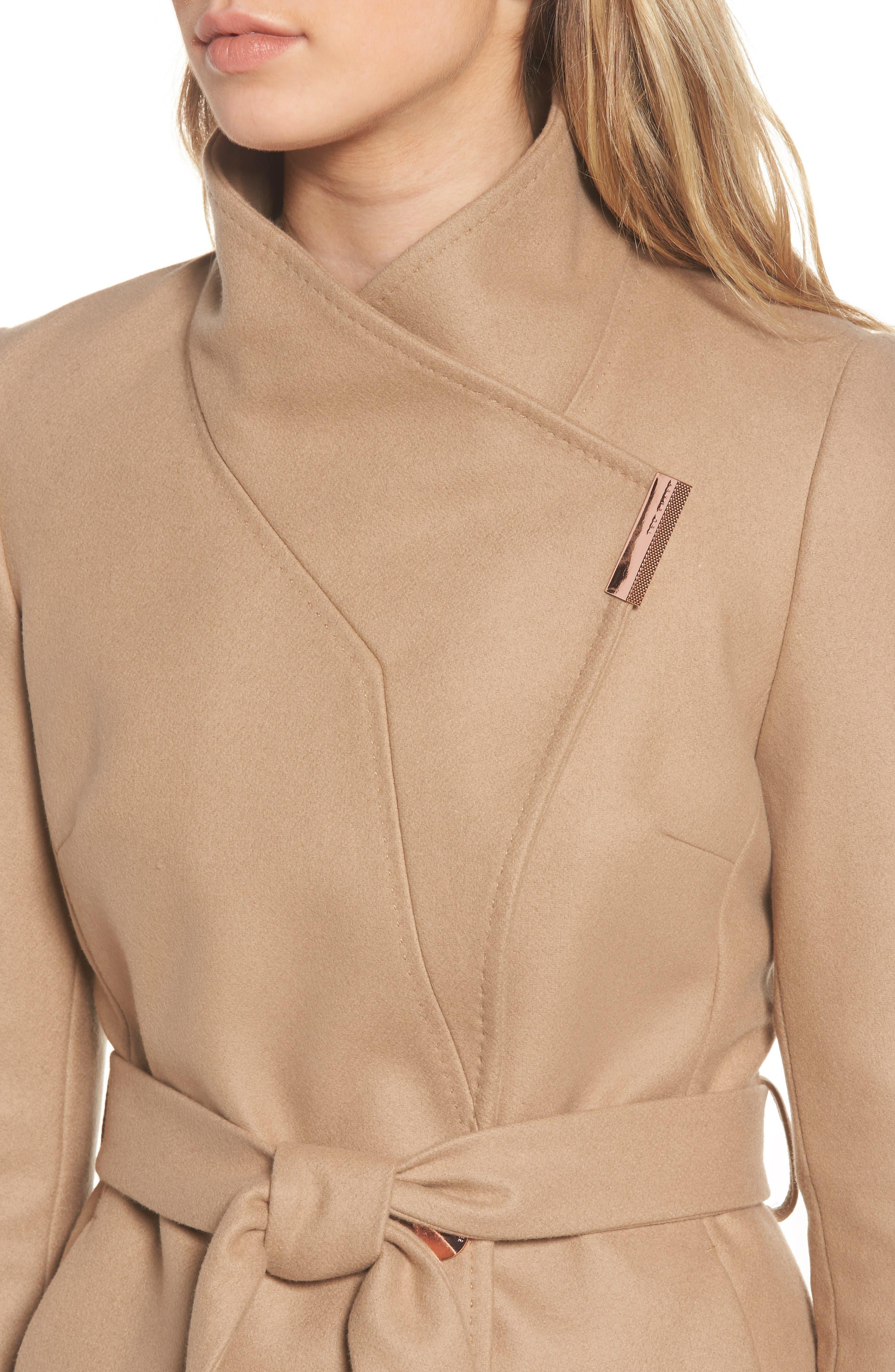 Wool Blend Short Wrap Coat,                             Alternate thumbnail 4, color,                             271
