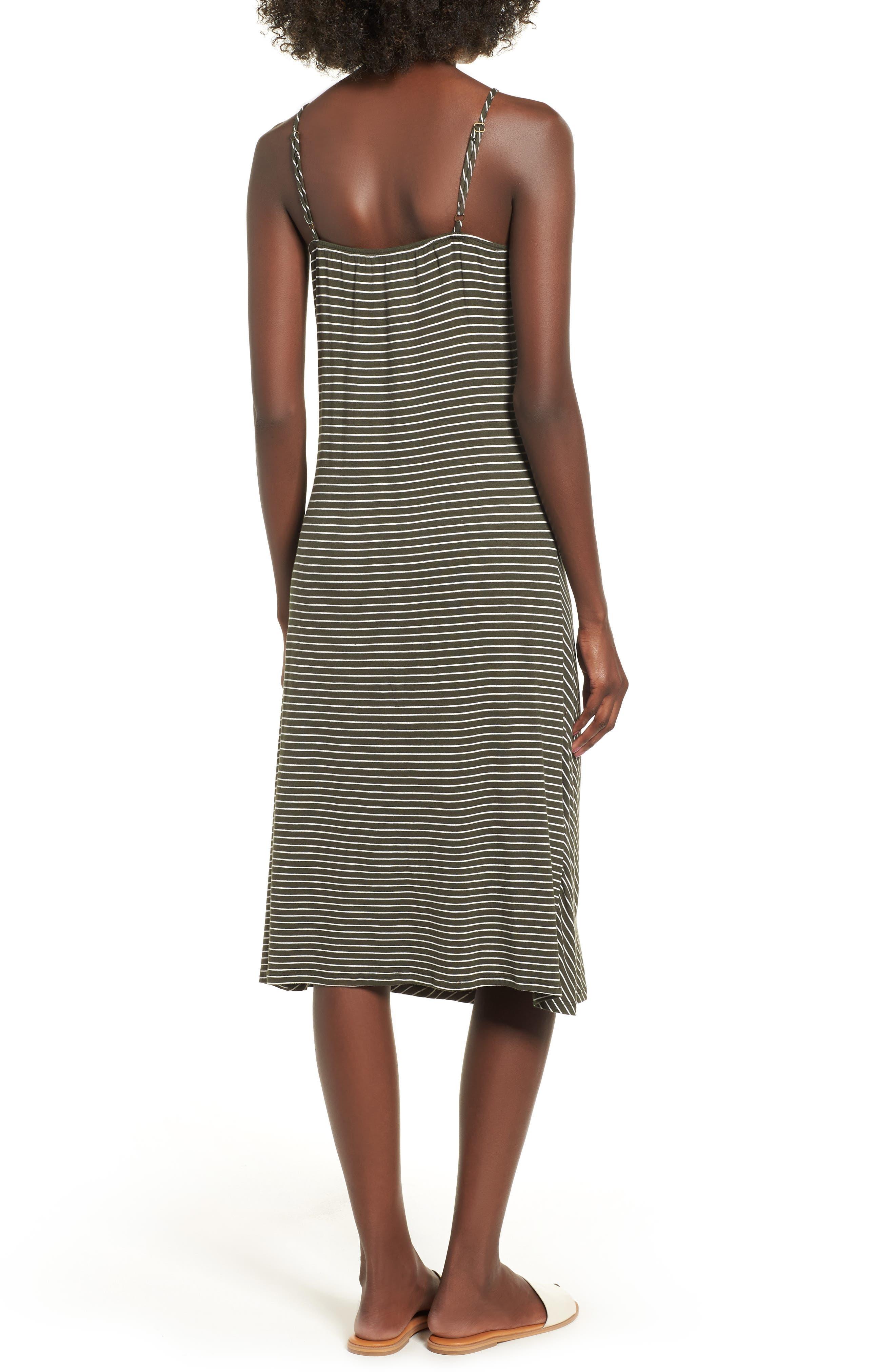 Chevron Stripe Midi Dress,                             Alternate thumbnail 2, color,                             OLIVE/IVORY