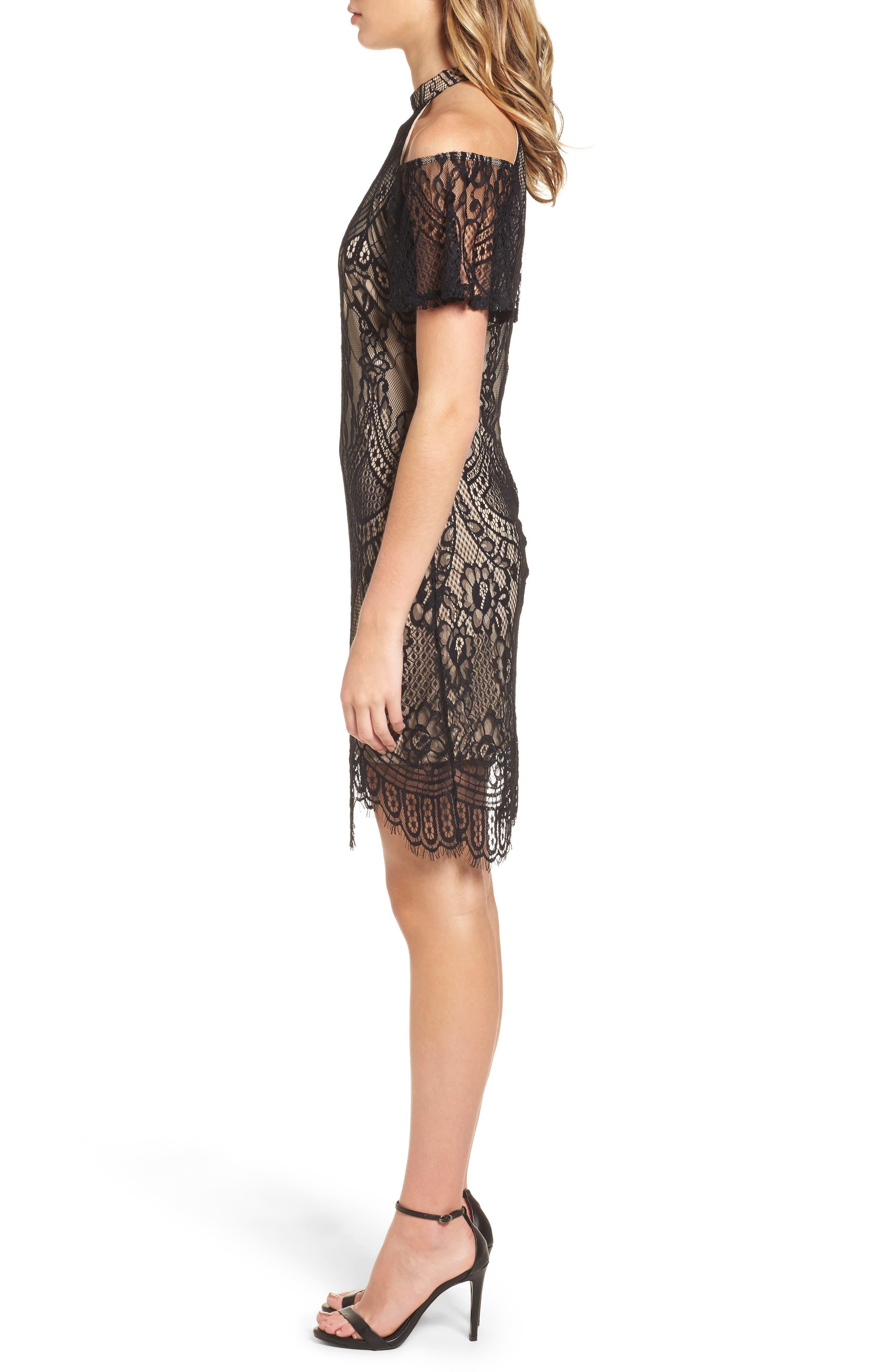 Lace Cold Shoulder Dress,                             Alternate thumbnail 3, color,                             002