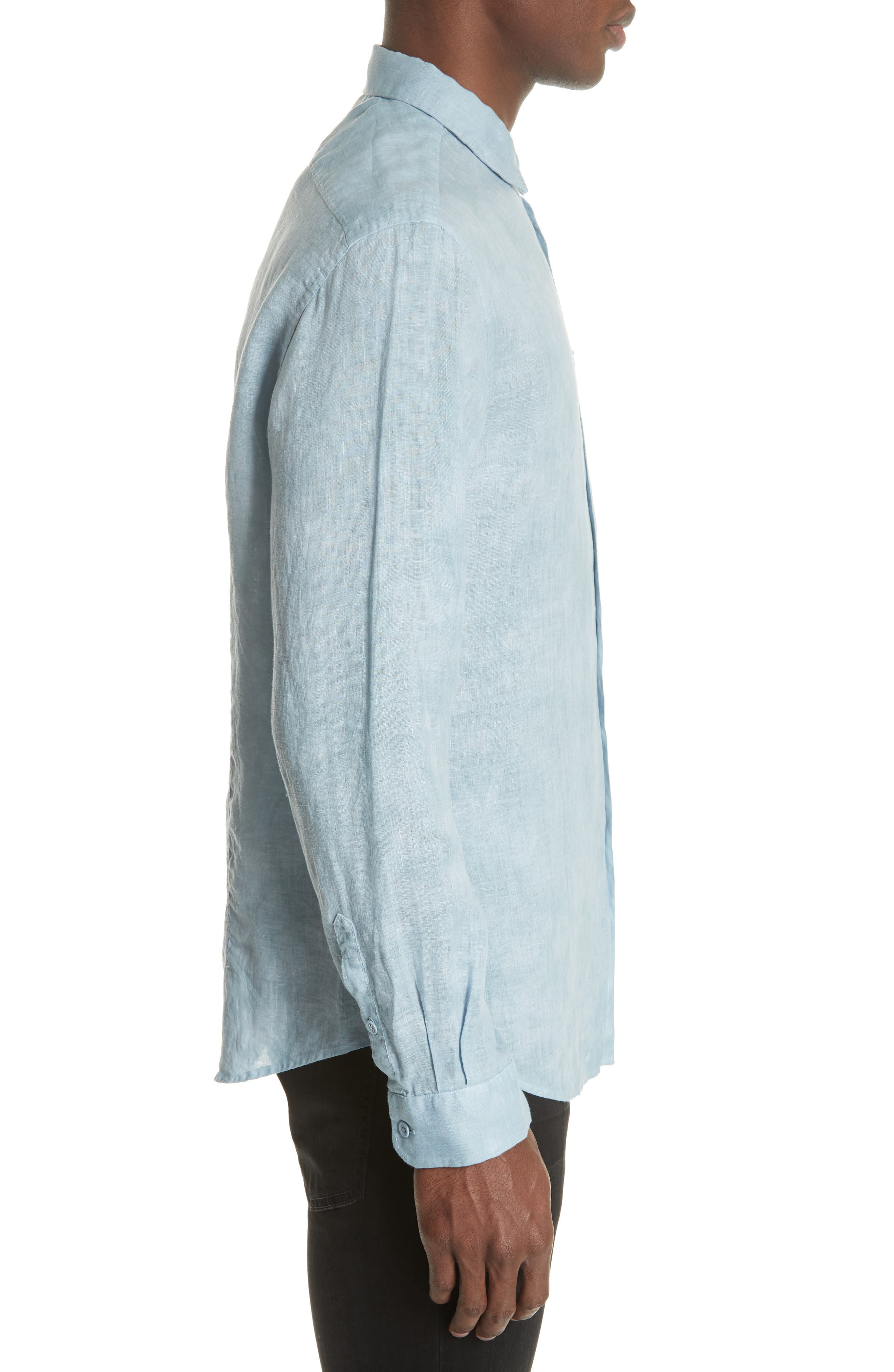 Linen Sport Shirt,                             Alternate thumbnail 3, color,                             SKY BLUE