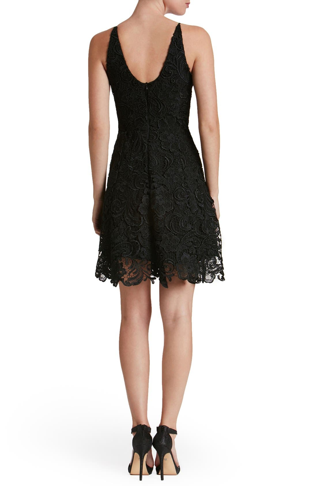 'Hayden' Lace Fit & Flare Dress,                             Alternate thumbnail 3, color,