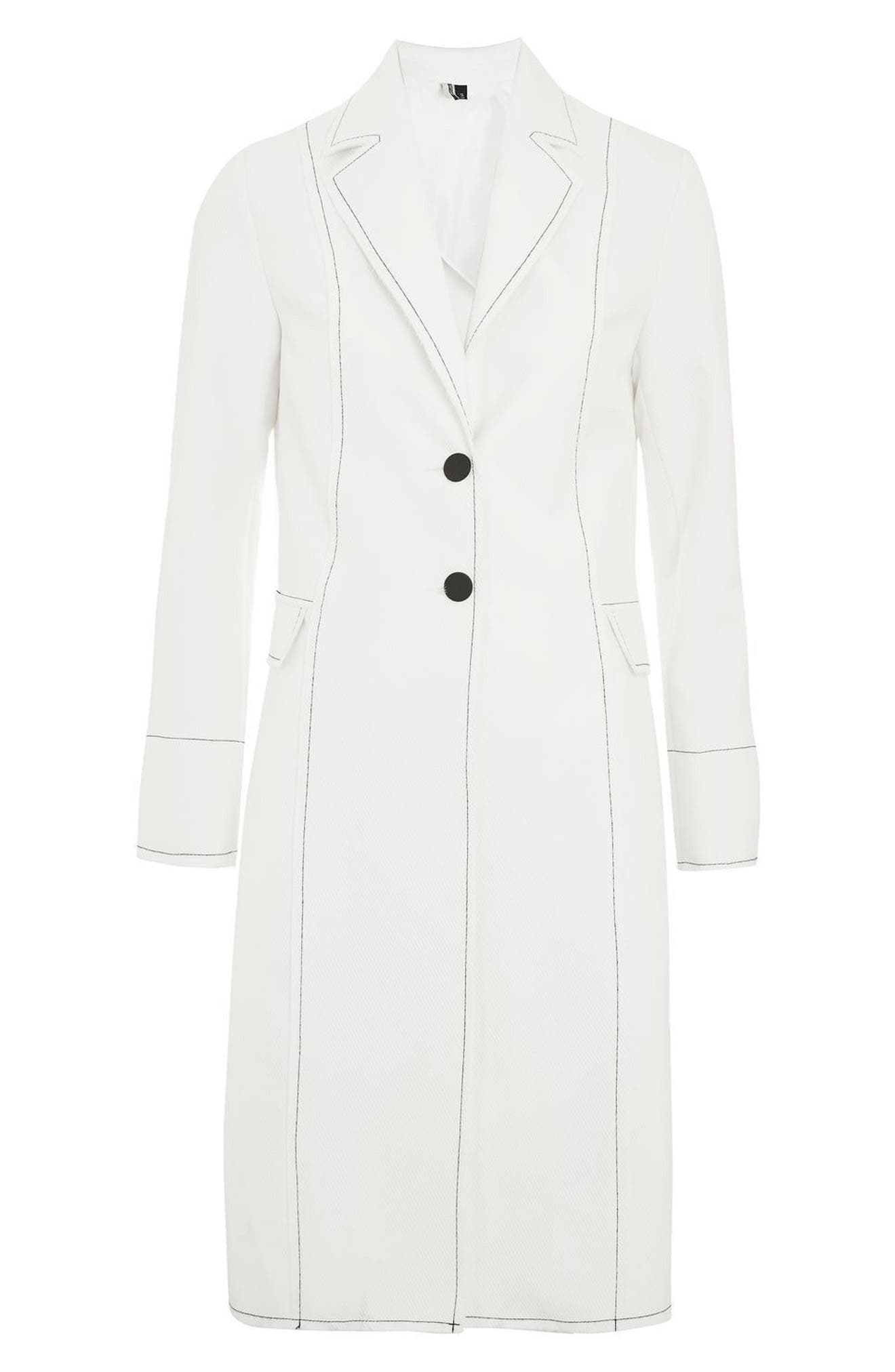 Contrast Stitch Twill Coat,                             Alternate thumbnail 5, color,                             100