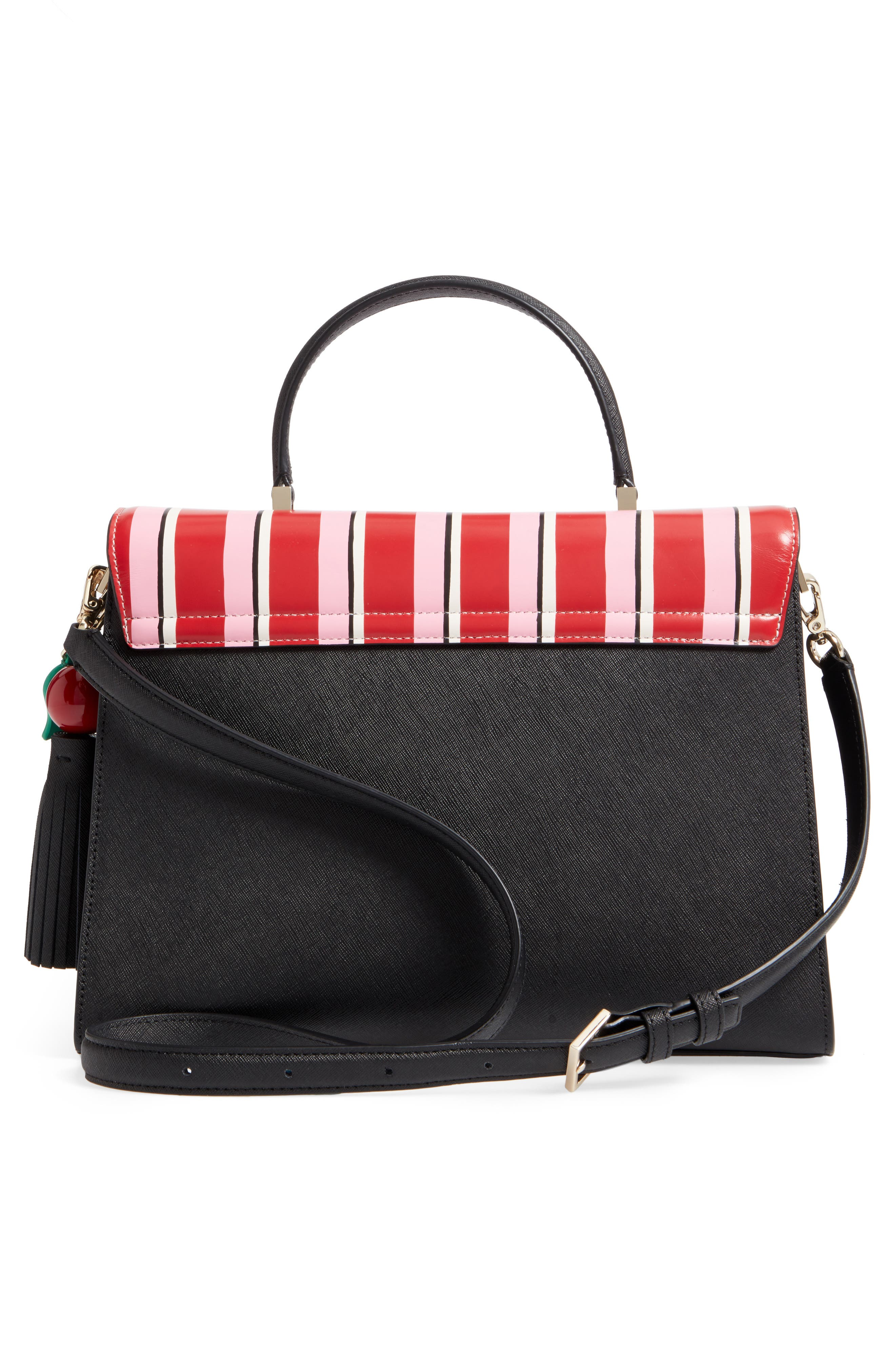 KATE SPADE NEW YORK,                             ma cherie - café leather satchel,                             Alternate thumbnail 3, color,                             001