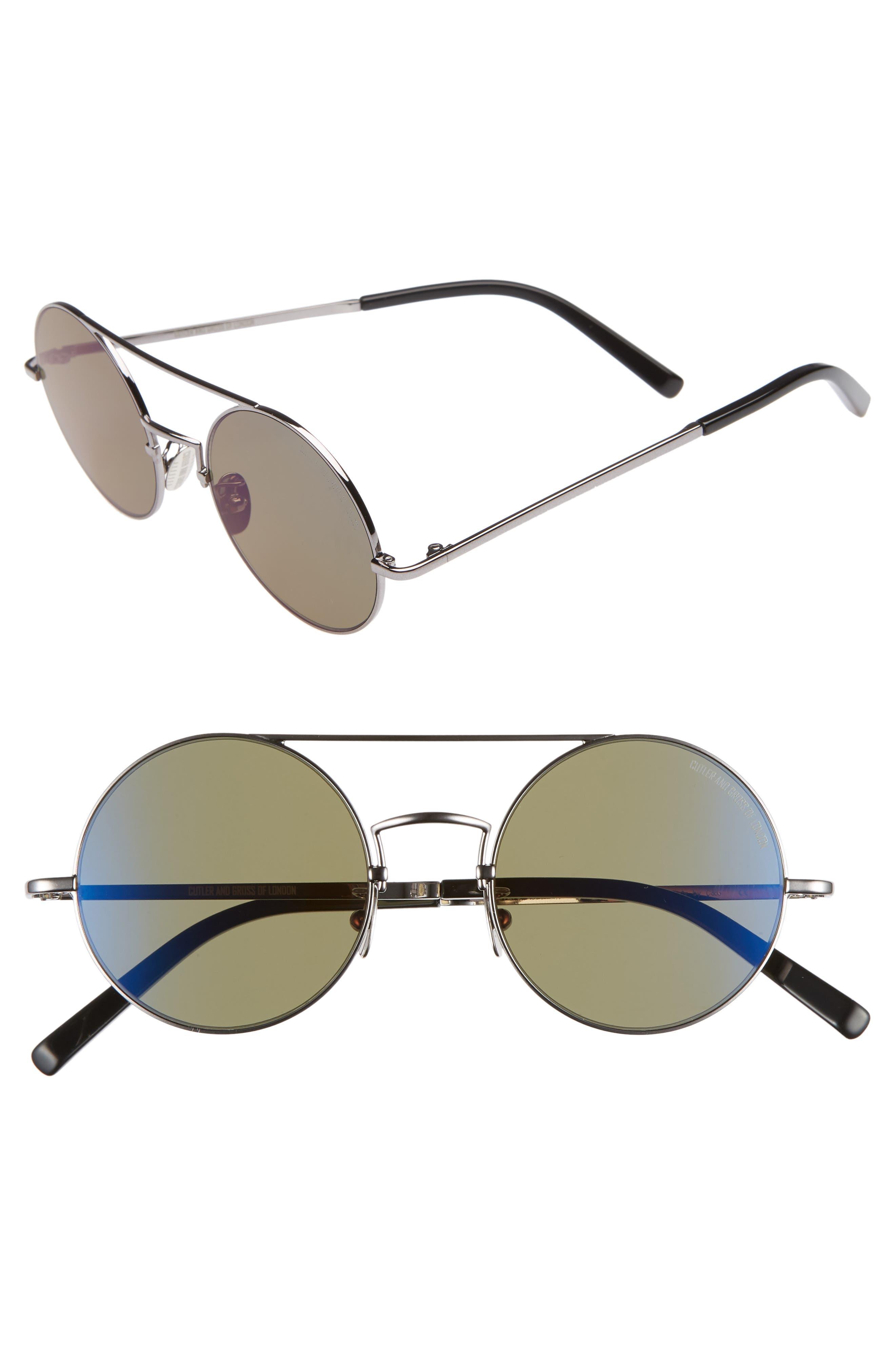 49mm Polarized Round Sunglasses,                         Main,                         color, RUTHENIUM METAL/ DARK GREEN