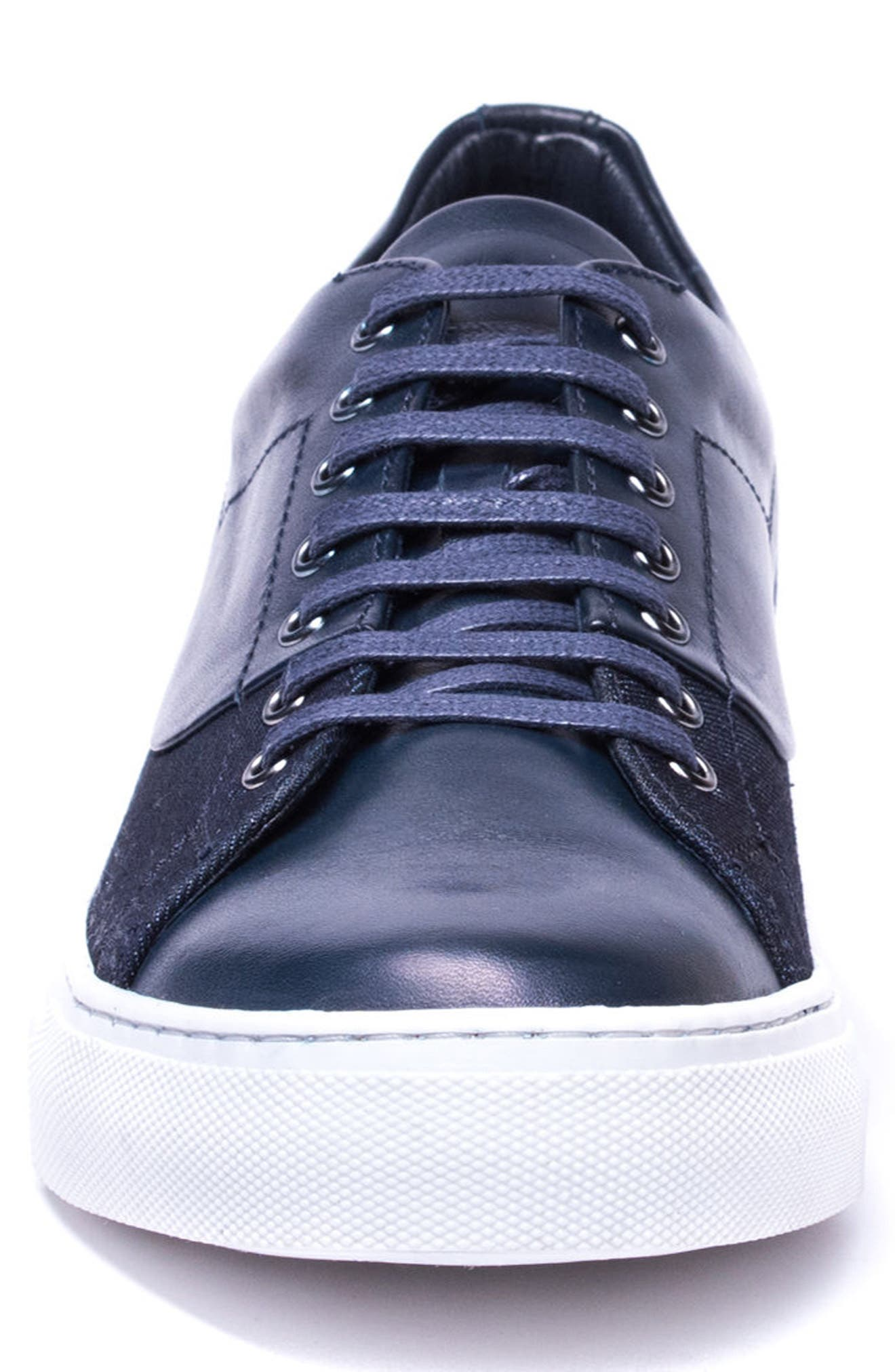 Luke Low Top Sneaker,                             Alternate thumbnail 4, color,                             NAVY LEATHER