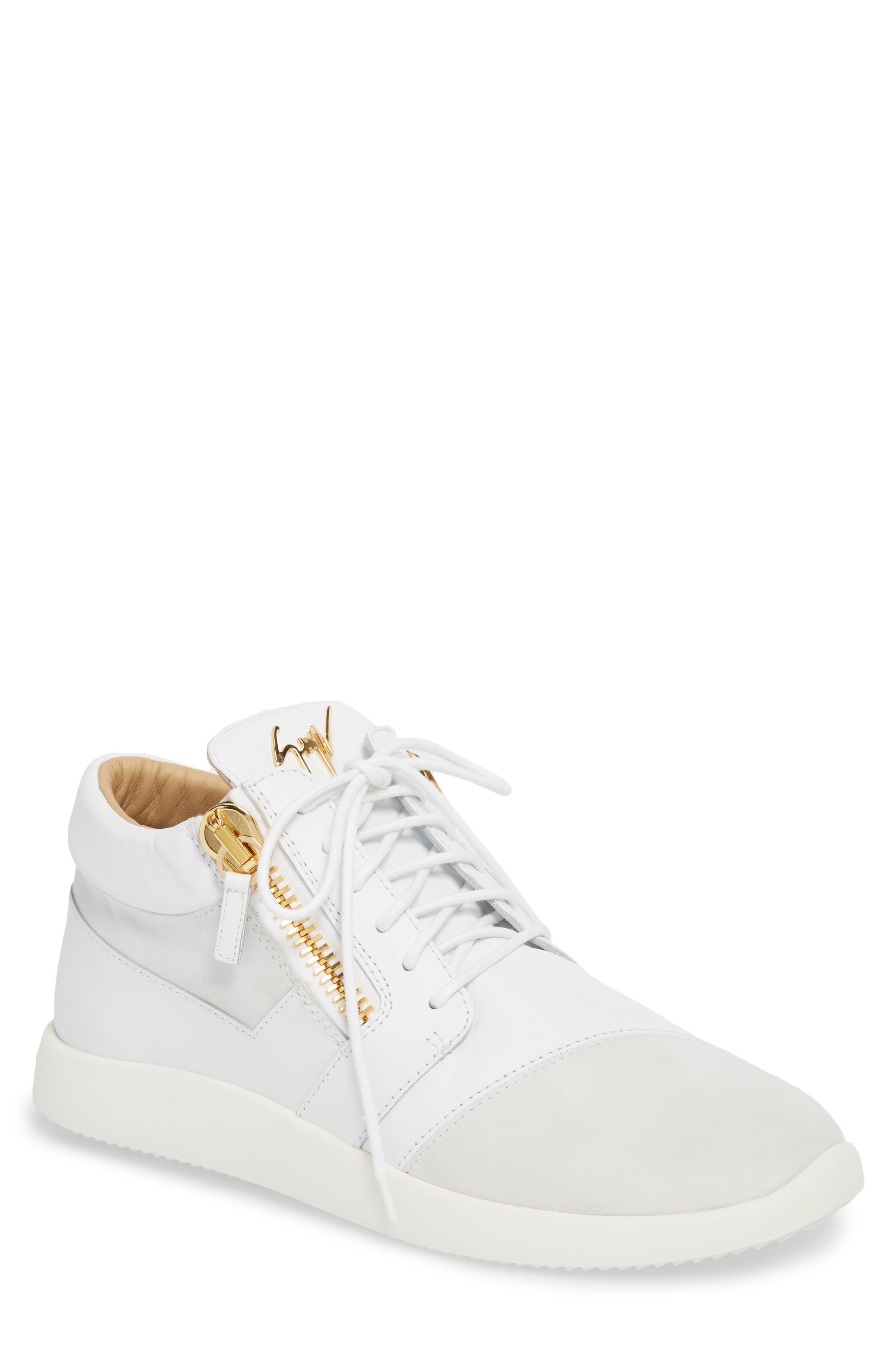 Double Zip Trainer Sneaker,                             Main thumbnail 1, color,                             BIANCO