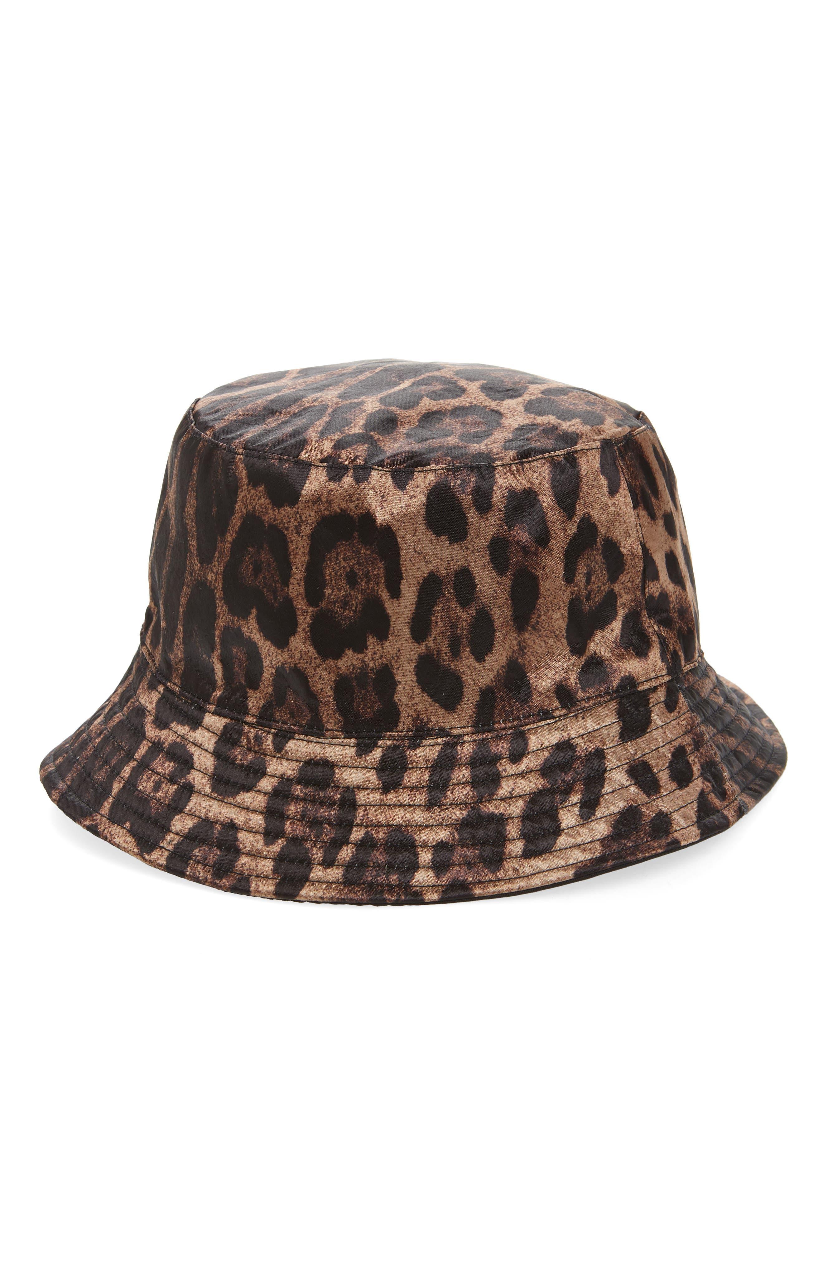 Leopard Spot Reversible Bucket Hat,                             Main thumbnail 1, color,                             TAN