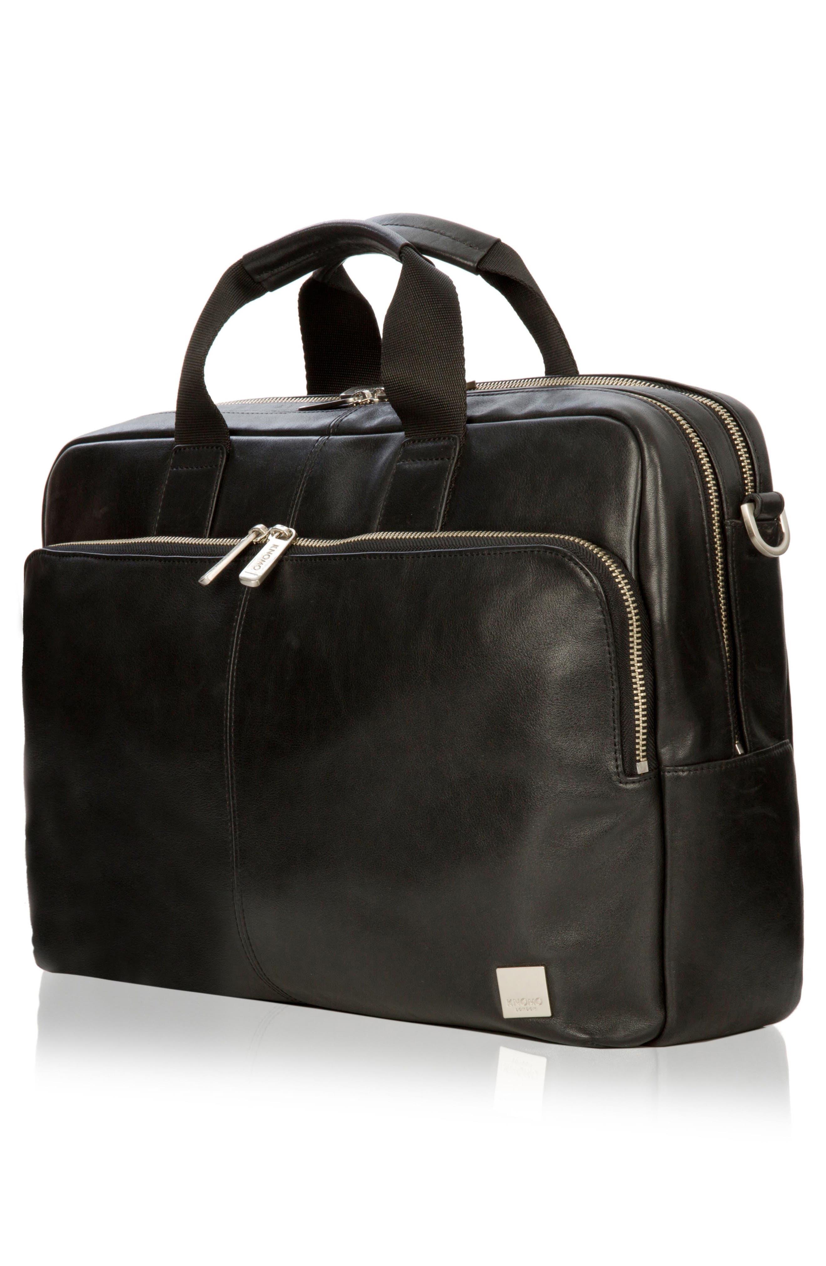 Brompton Amesbury Leather Briefcase,                             Alternate thumbnail 3, color,                             BLACK
