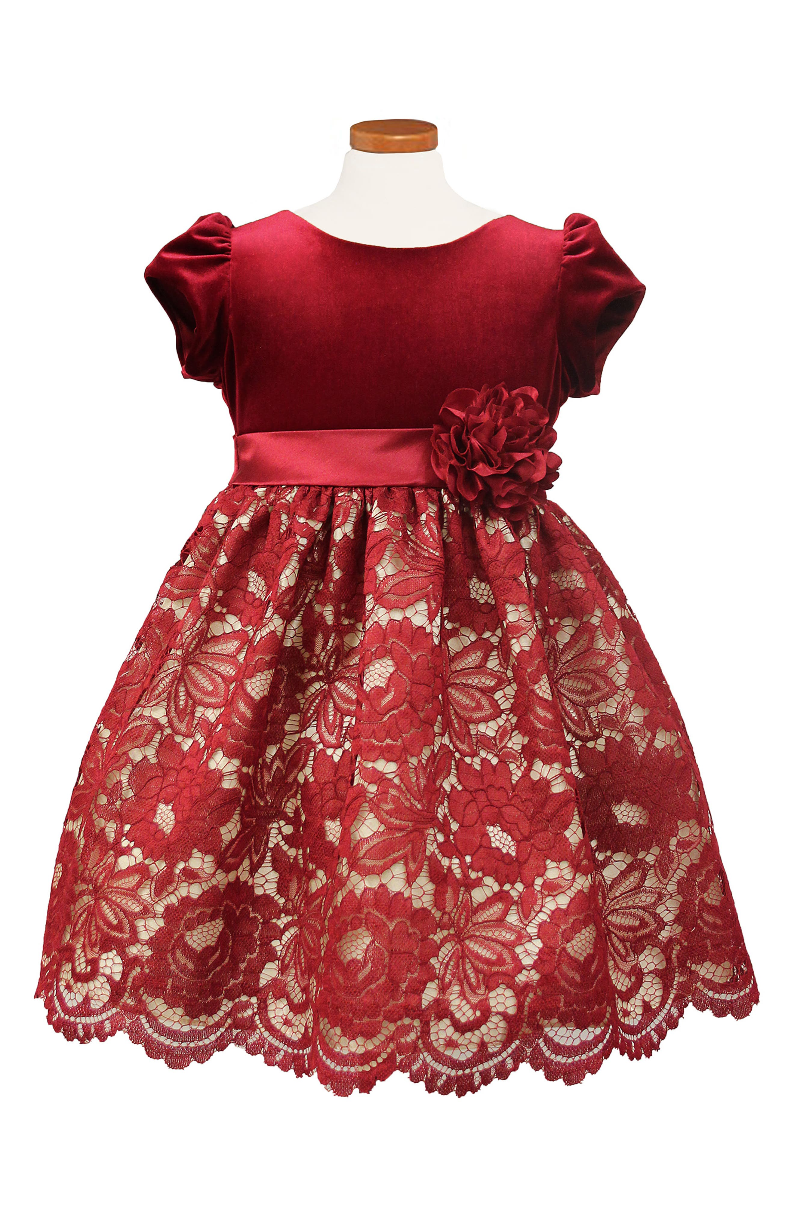 Lace Fit & Flare Dress,                         Main,                         color, RED