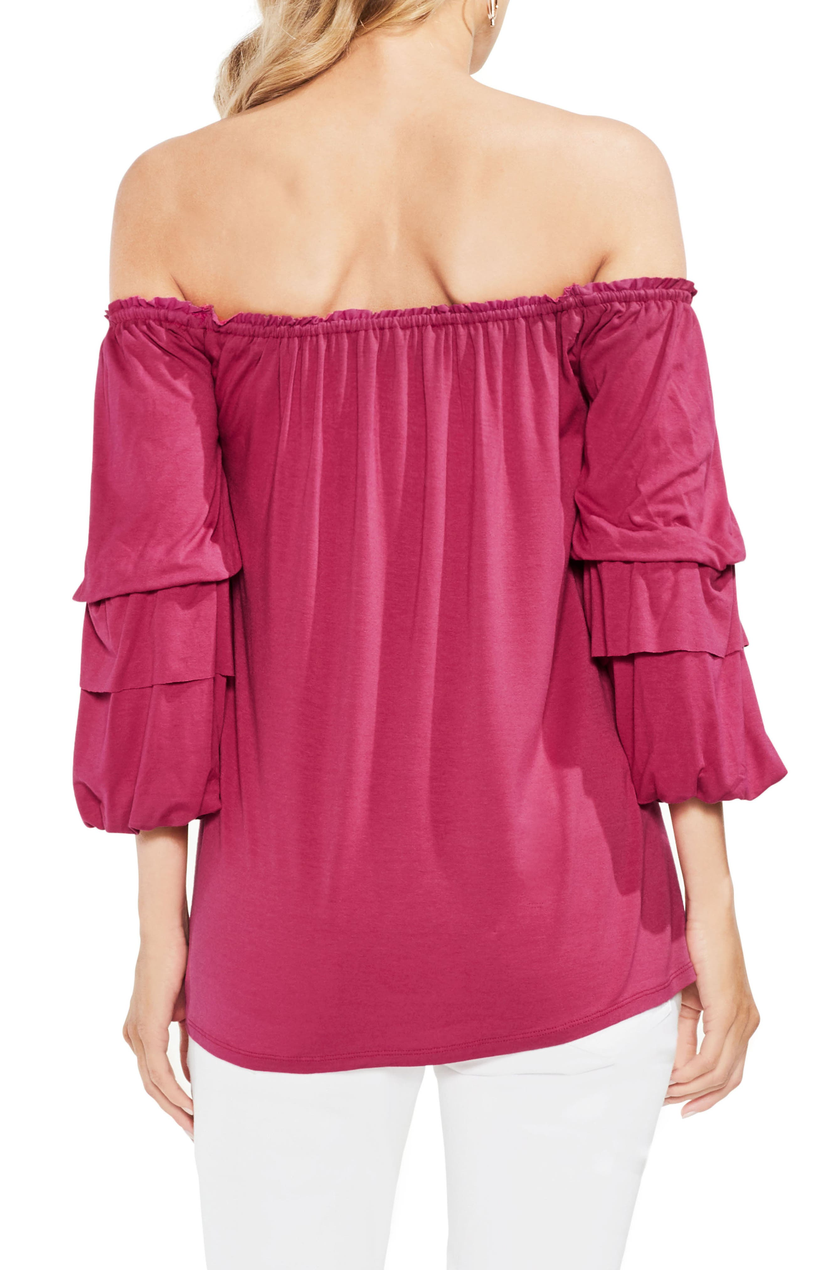 Off The Shoulder Tiered Top,                             Alternate thumbnail 7, color,