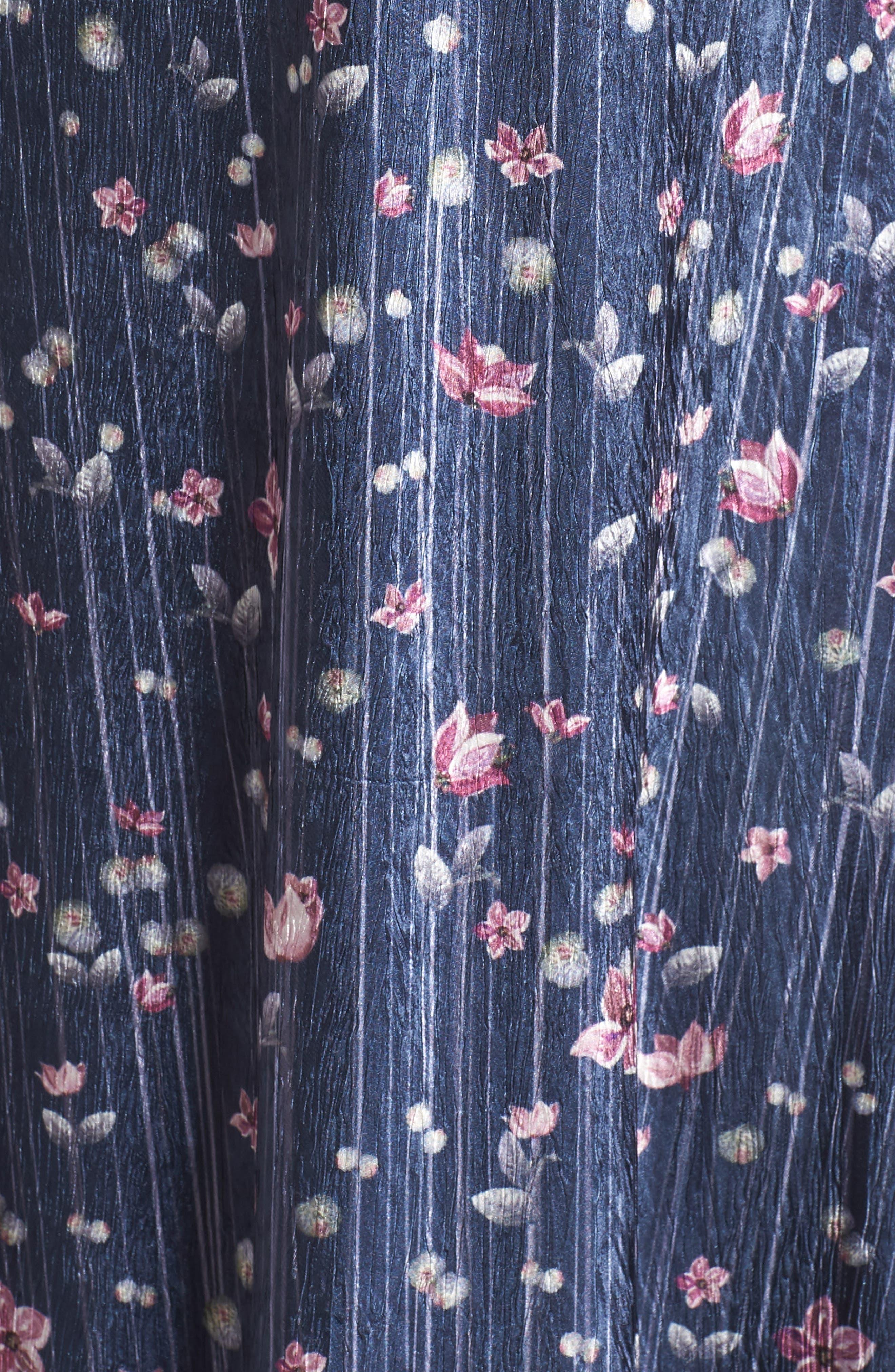 Lace Sleeve Charmeuse Midi Dress,                             Alternate thumbnail 6, color,                             WILD THISTLE