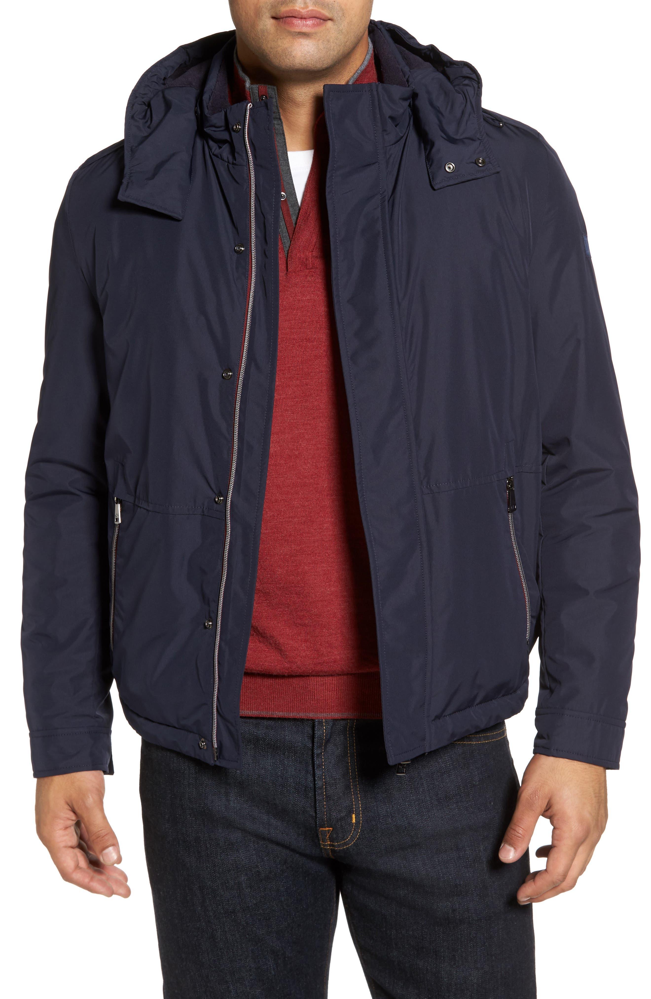 Paul&Shark Fleece Lined Hooded Jacket,                             Main thumbnail 1, color,                             400