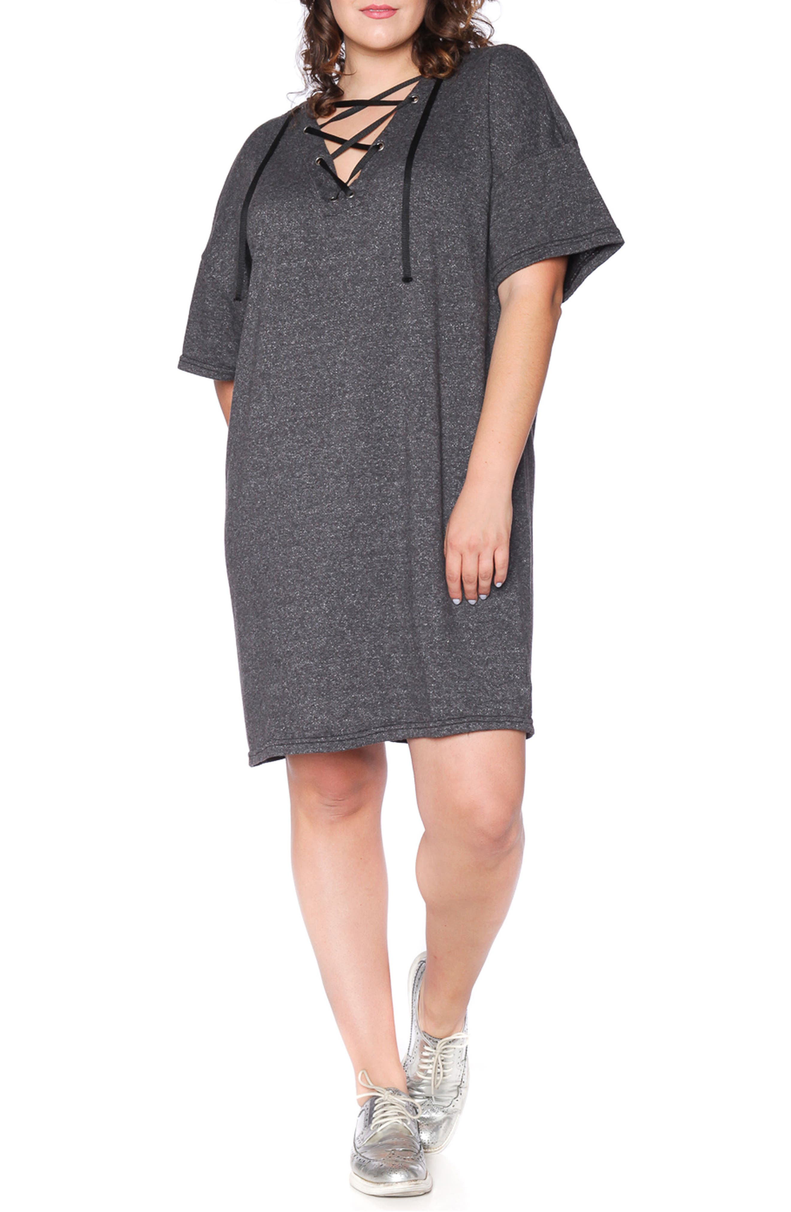 Lace-Up Hoodie Dress,                             Main thumbnail 1, color,                             018