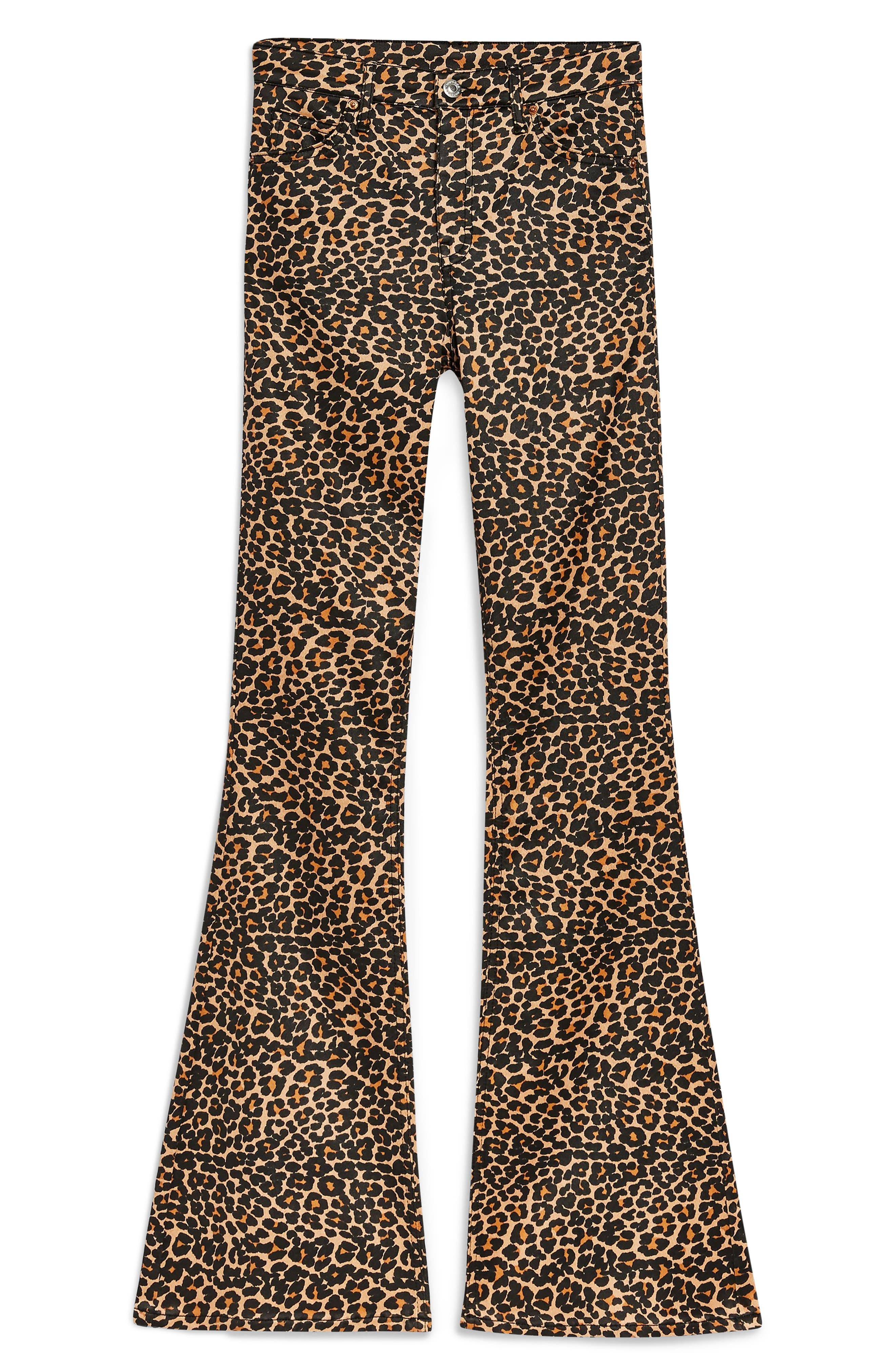 MOTO Leopard Print Flare Jeans,                             Alternate thumbnail 3, color,                             BROWN MULTI