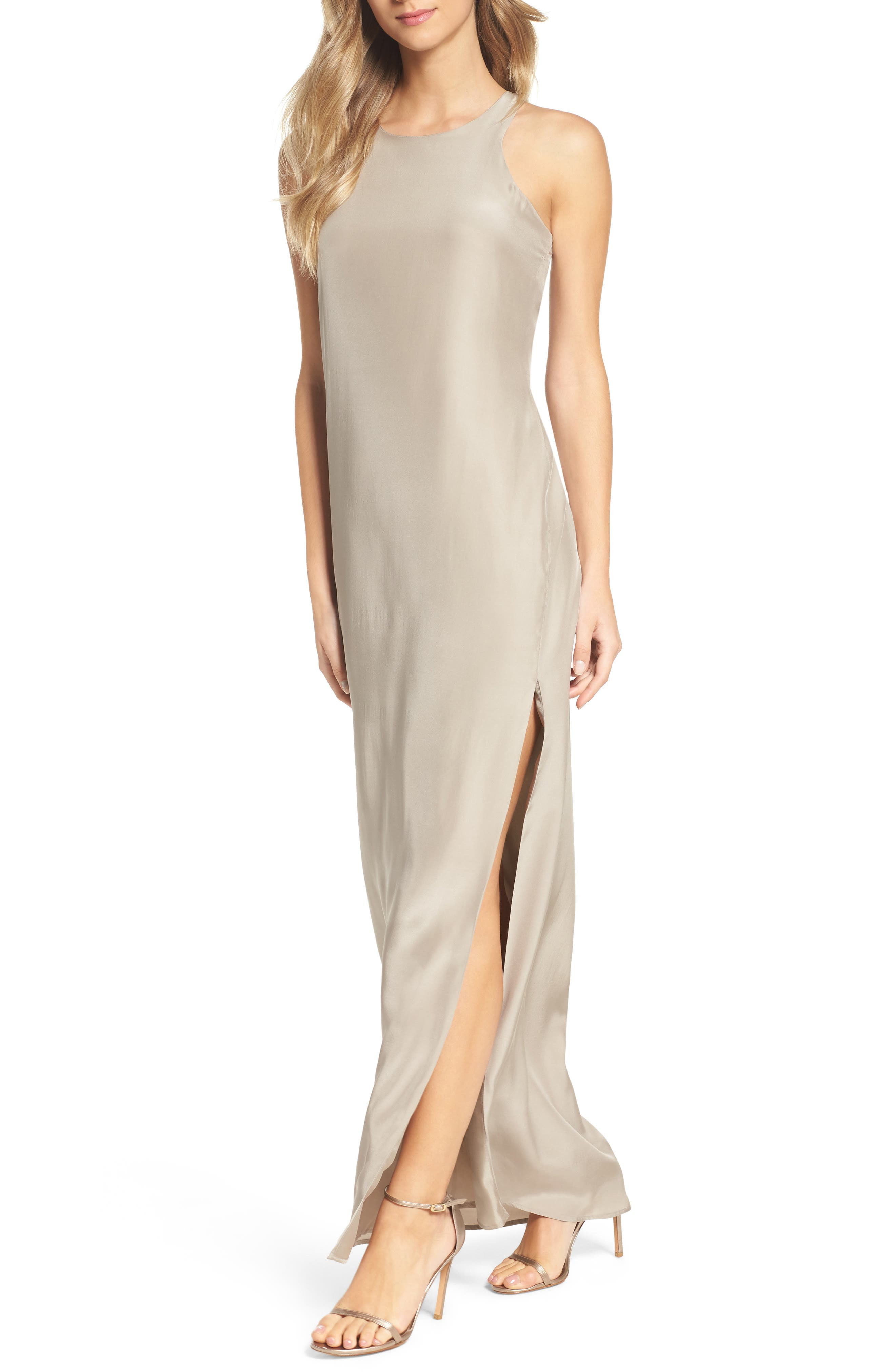 Silk Column Gown,                             Alternate thumbnail 4, color,                             260
